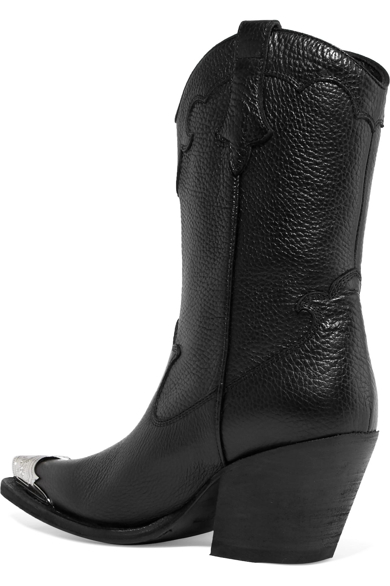 McQ Tammy Embellished Textured-leather Ankle Boots in Black