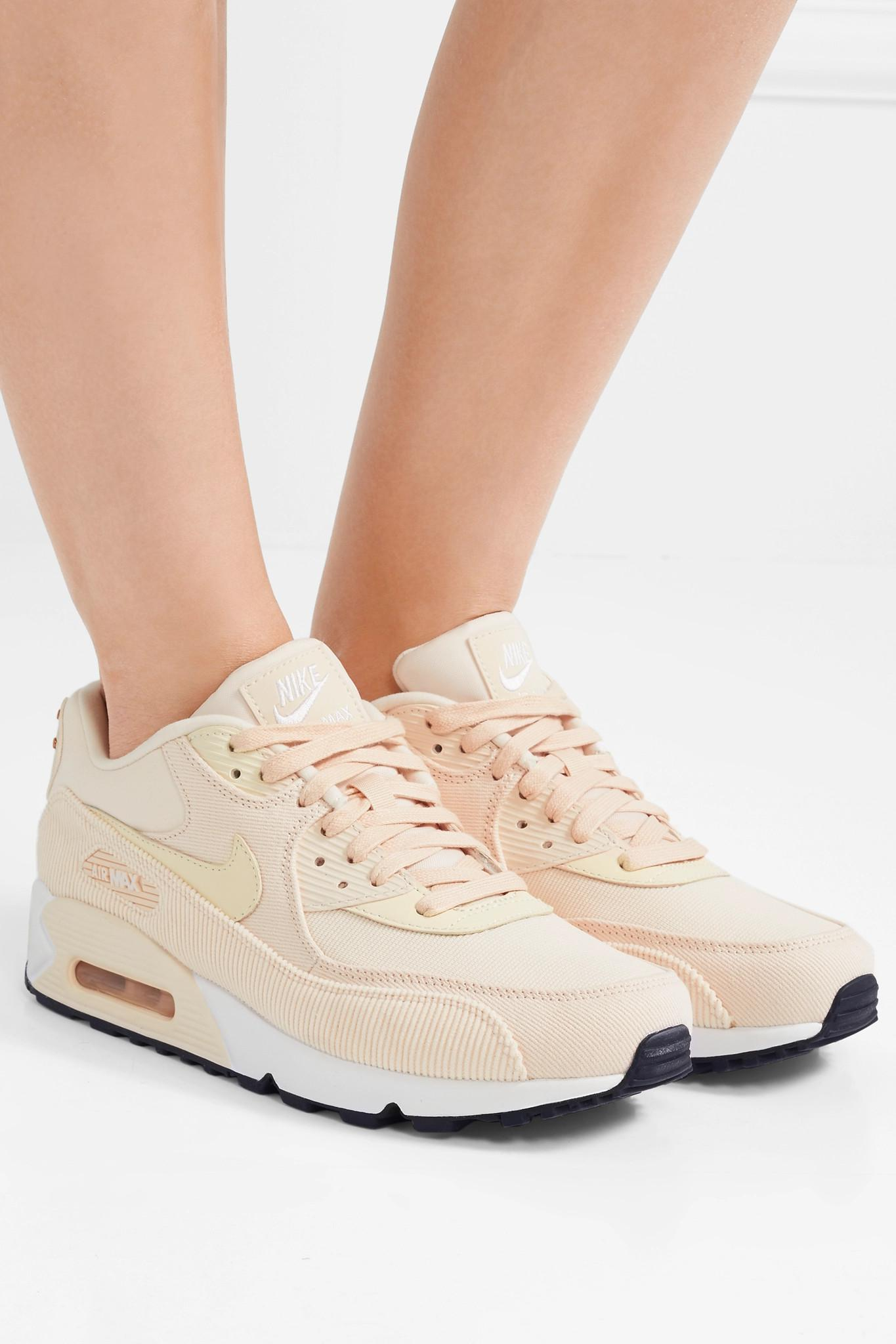 Nike Air Max 90 Leather, Corduroy And Mesh Sneakers - Lyst