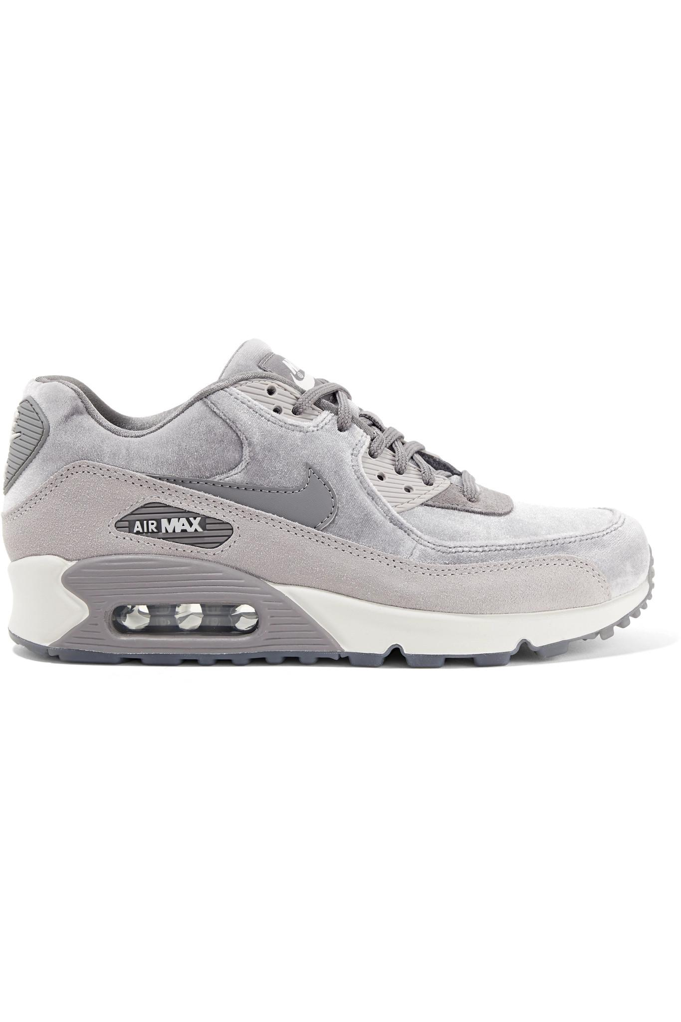 la meilleure attitude a366a eca64 Nike Gray Air Max 90 Suede-trimmed Velvet Sneakers