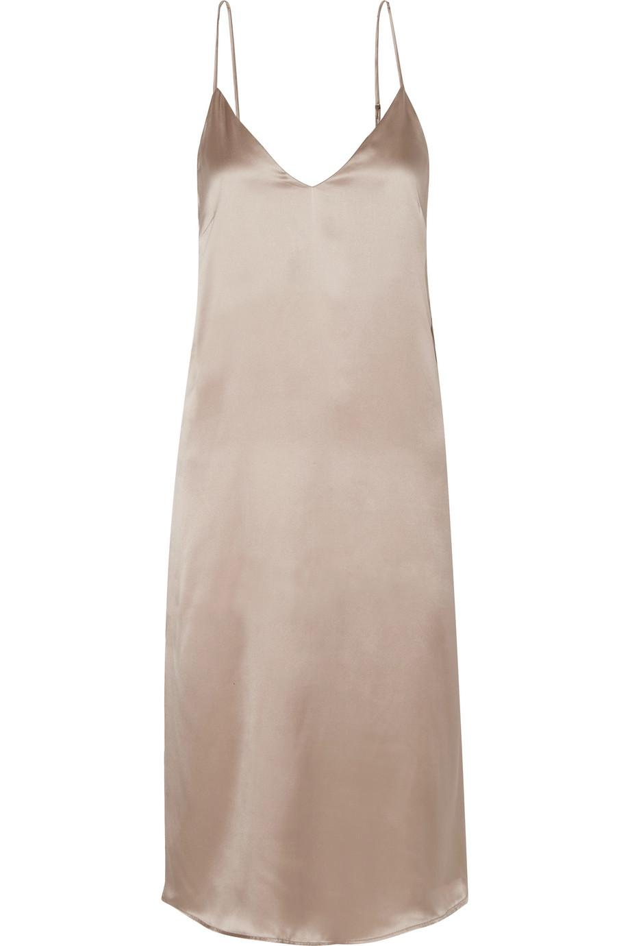 9a0b6e3b78ce9 Anine Bing Gemma Silk-satin Midi Dress in Natural - Lyst