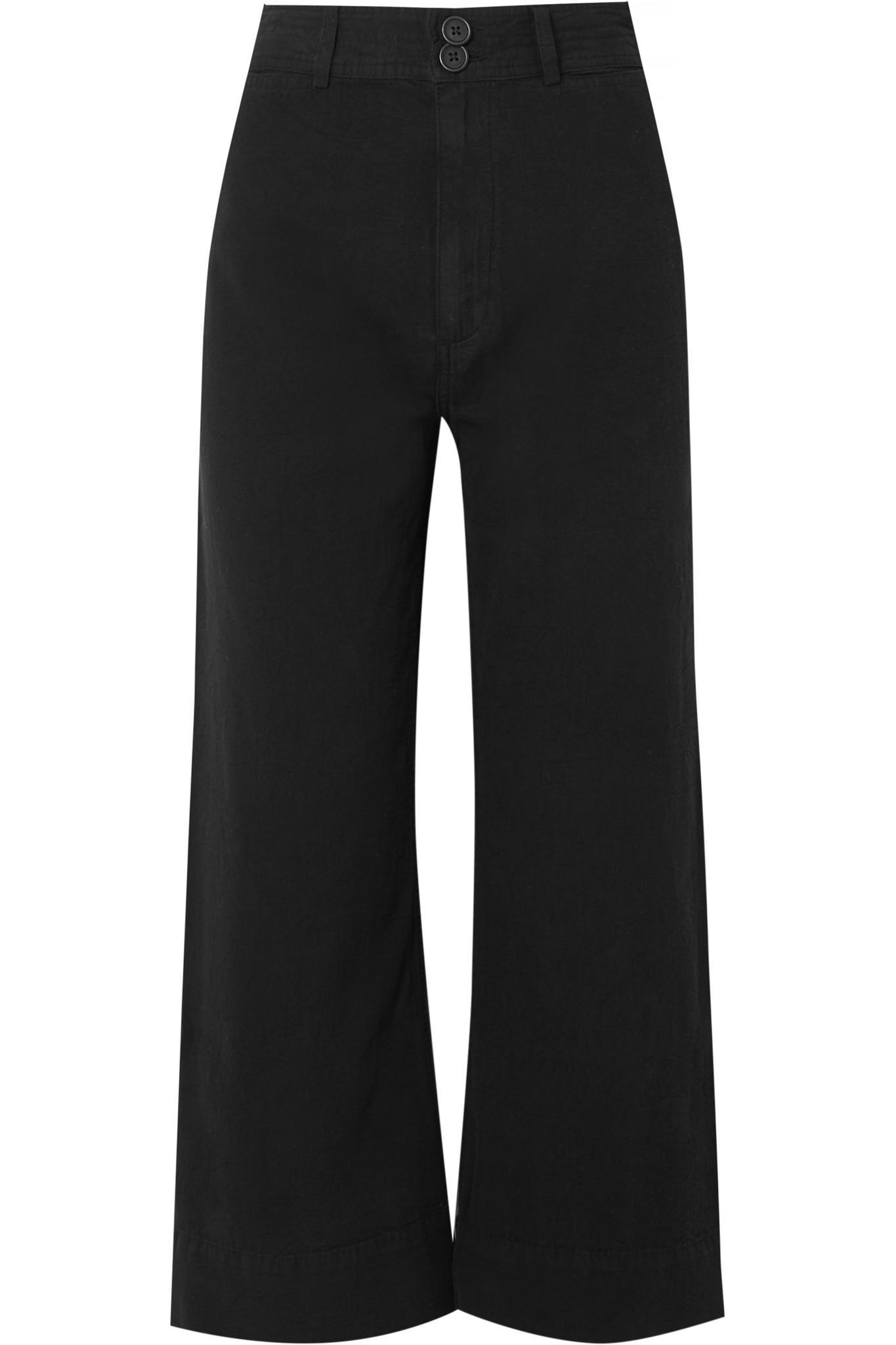 Merida Cropped Cotton-canvas Wide-leg Pants - Black Apiece Apart 5wFtXLwke