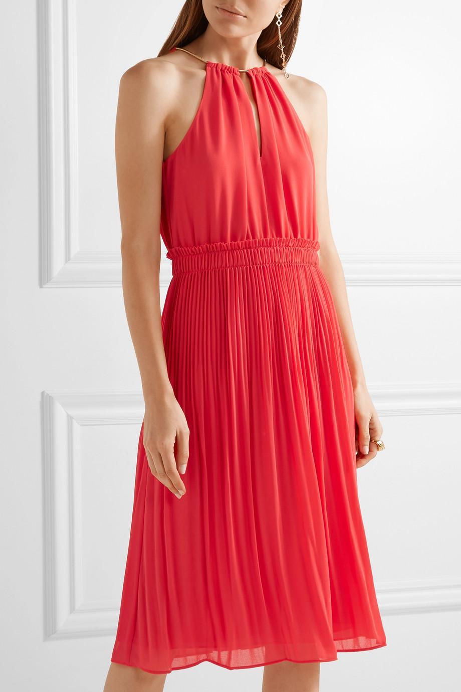 Hayden Chain-embellished Georgette Dress - Red Michael Kors B4iS4uHViP