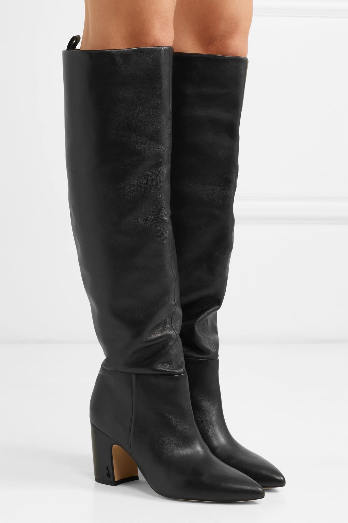 02f5ed46f719 Sam Edelman - Black Hutton Leather Knee Boots - Lyst. View fullscreen