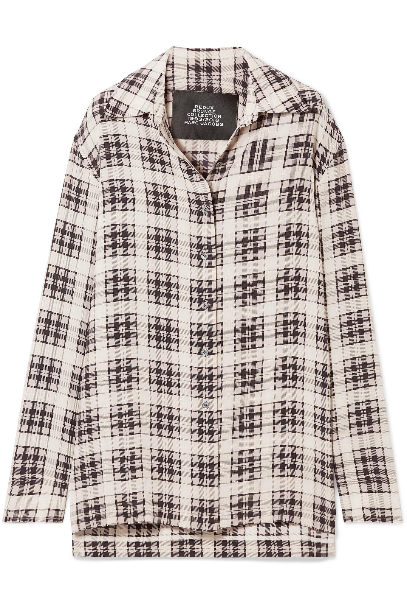 e92a1e509a4df Lyst - Marc Jacobs Checked Washed-silk Shirt in White - Save 12%