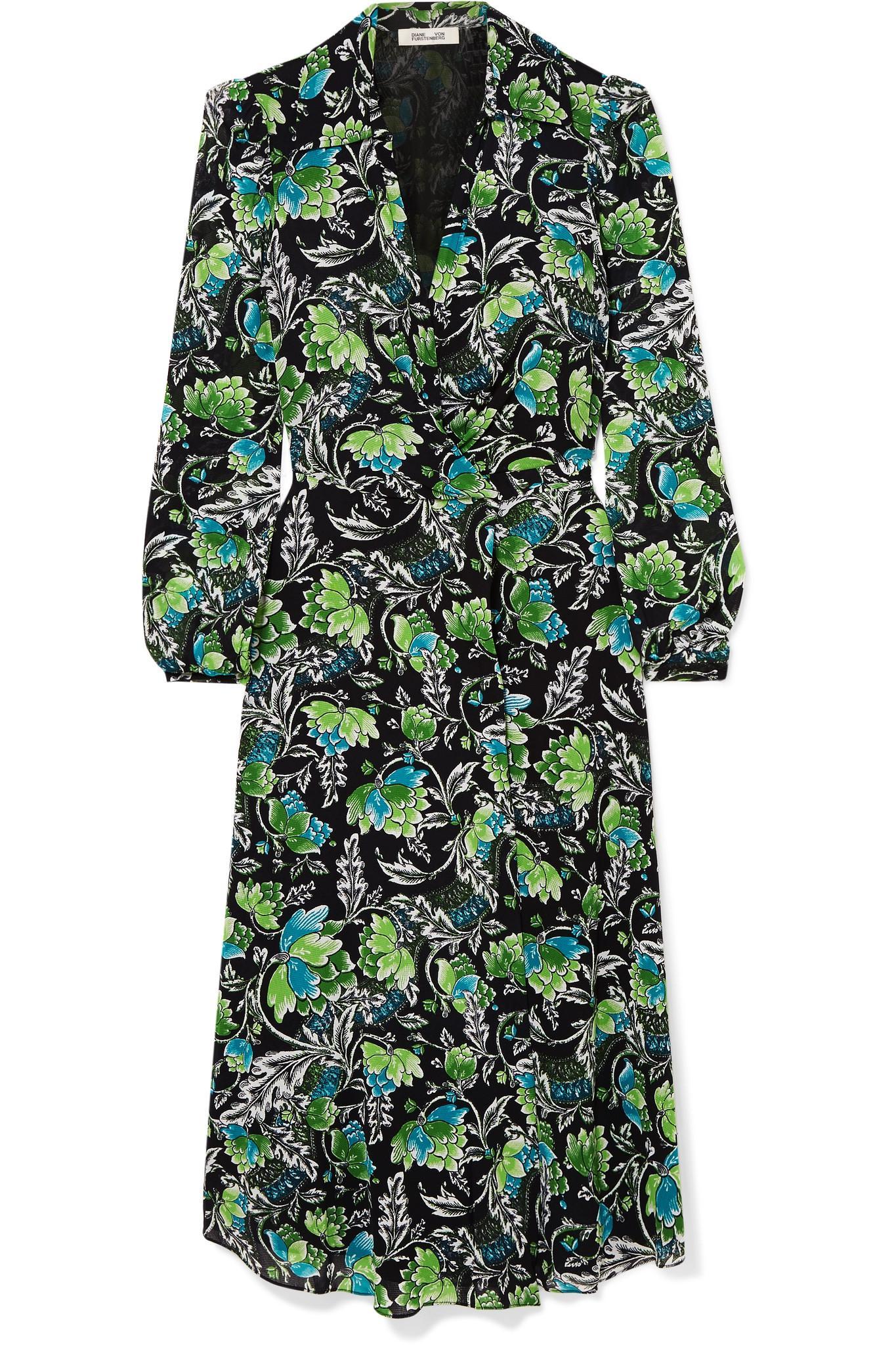 0e73c9f3c4 Diane von Furstenberg. Women s Green Phoenix Floral-print Georgette Wrap  Dress