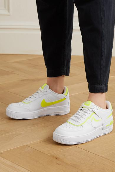 Nike Air Force 1 Shadow Neon Leather Sneakers in White - Lyst