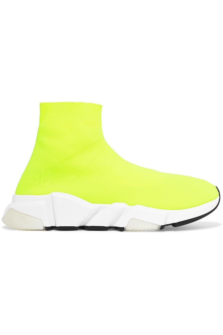 Speed Neon Stretch-knit High-top Sneakers - Yellow Balenciaga TuWEdA6jT