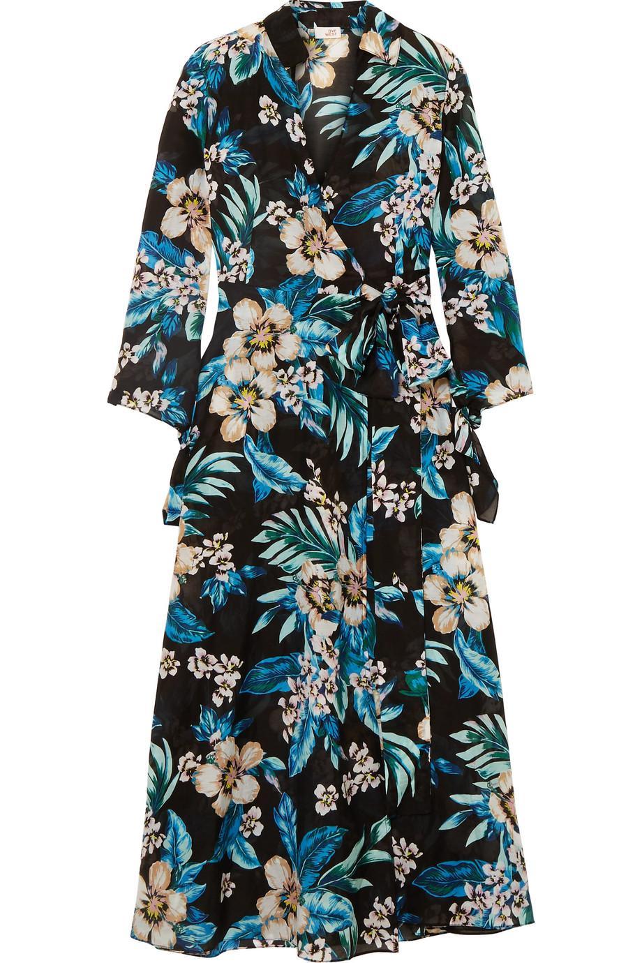 Floral-print Cotton And Silk-blend Wrap Dress - Black Diane Von F AW1RW