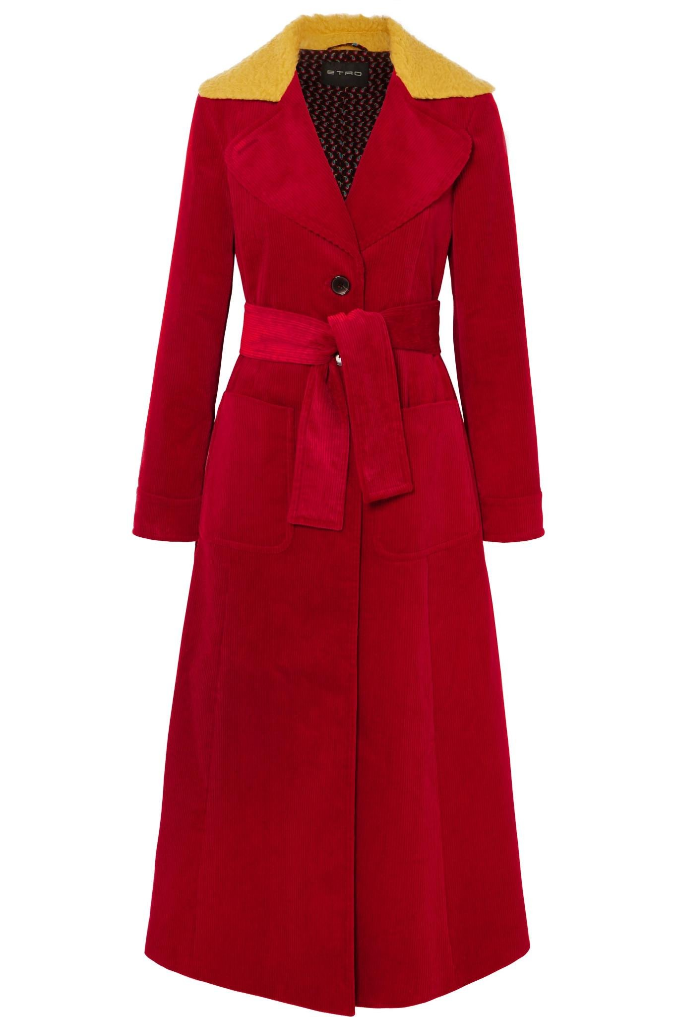 990c77b58037 Lyst - Etro Faux Shearling-trimmed Cotton-corduroy Coat in Red