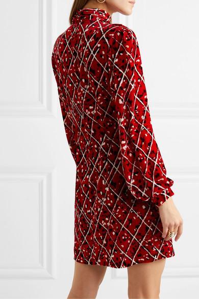Mini-robe En Velours Imprimé À Fronces Elle Velours Raquel Diniz en coloris Rouge