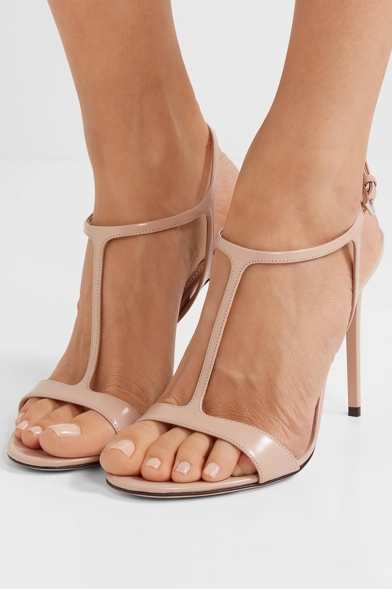 108a8299687 Prada - Natural 105 Glossed-leather Sandals - Lyst. View fullscreen