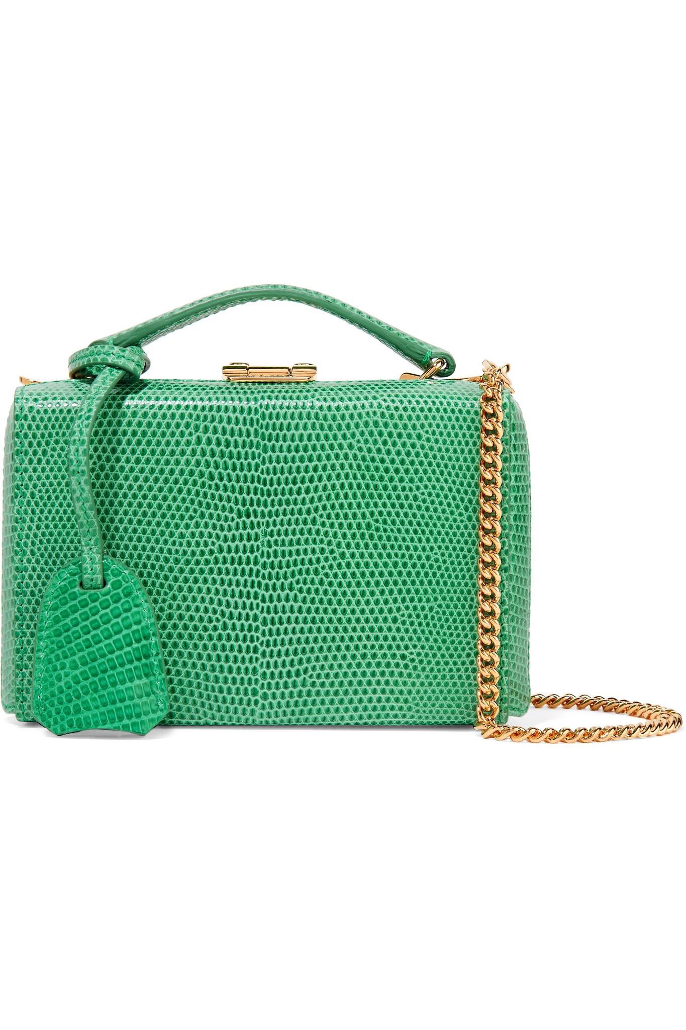 894d101864e3 Mark Cross Grace Mini Lizard Shoulder Bag in Green - Lyst