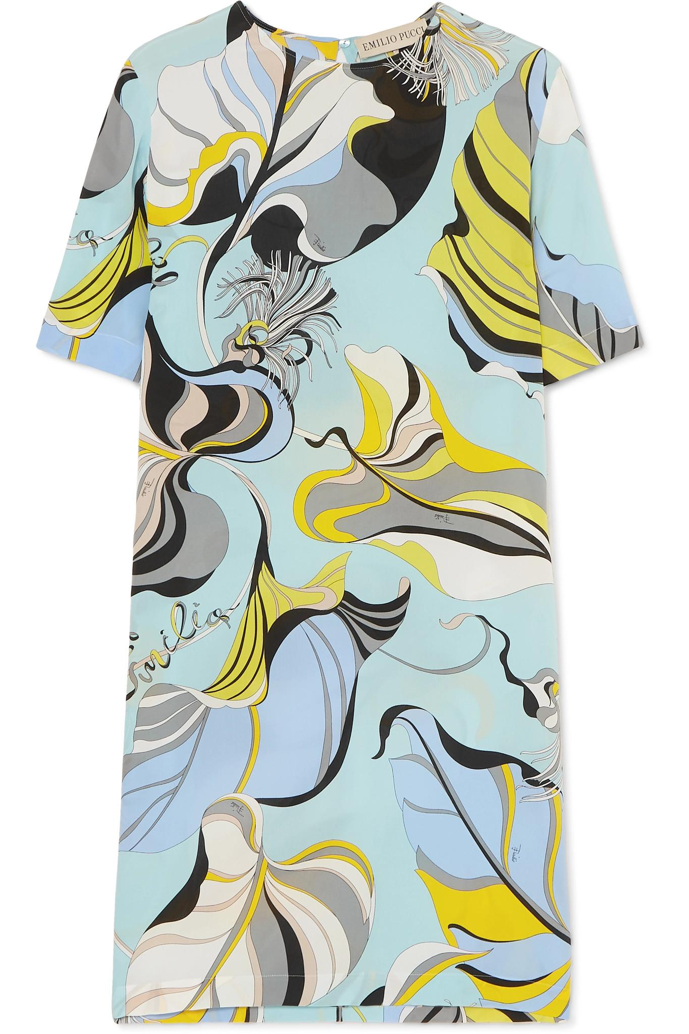 fa7fb493c6d3 Emilio Pucci - Blue Printed Silk Crepe De Chine Mini Dress - Lyst. View  fullscreen