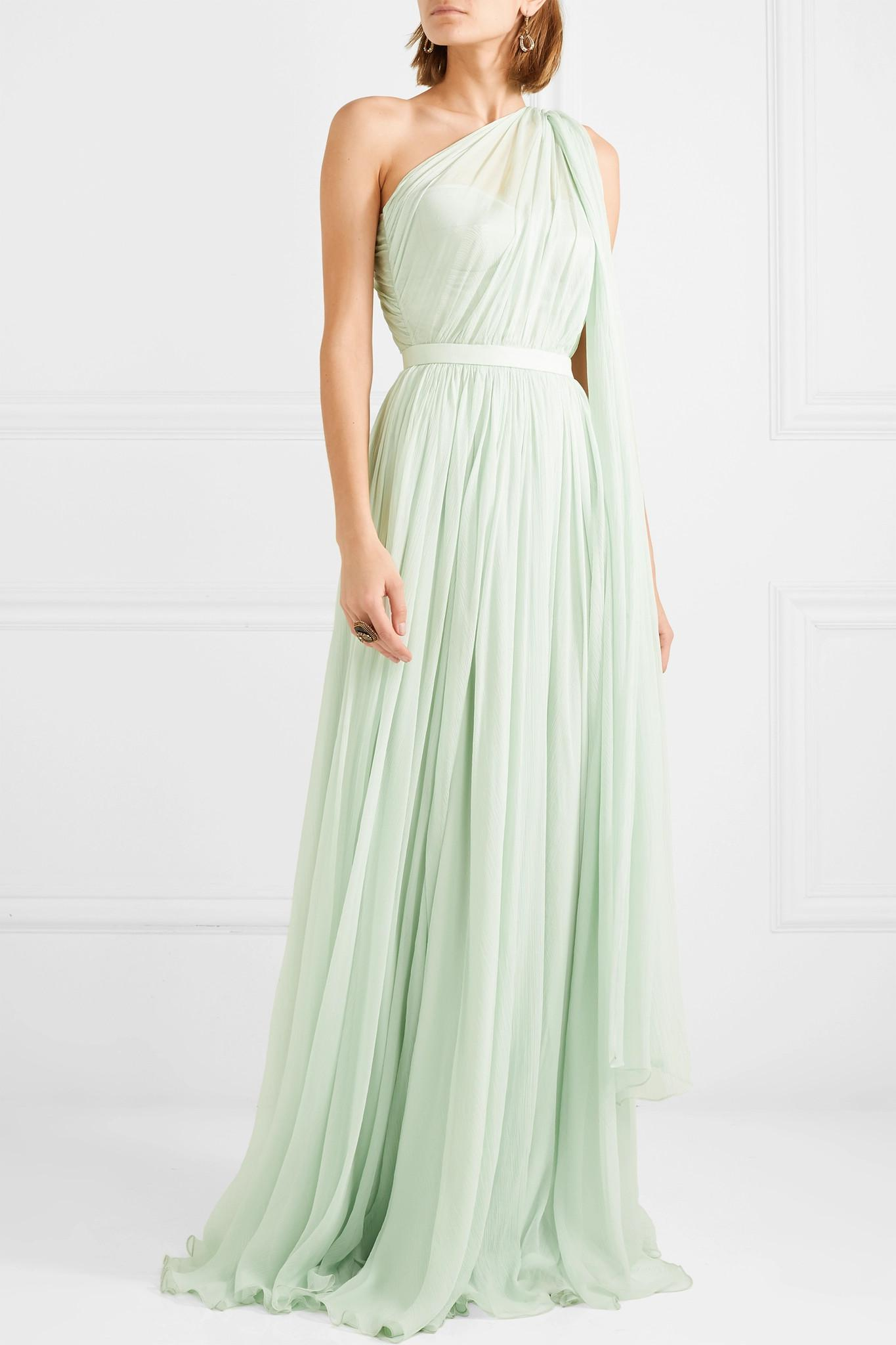 77439f3e8c95 Alexander McQueen One-shoulder Crinkled Silk-chiffon And Satin Gown ...