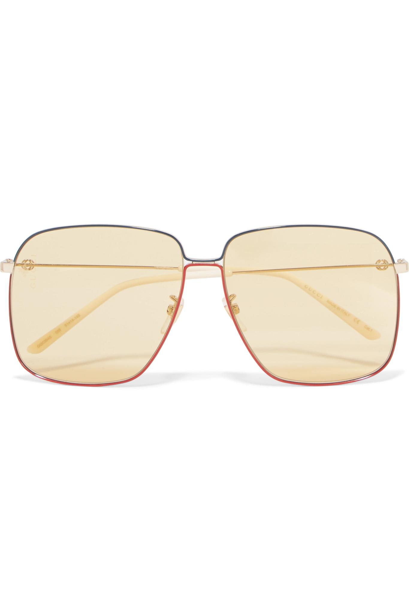 af58f171130 Gucci Oversized Square-frame Gold-tone Sunglasses in Metallic - Lyst