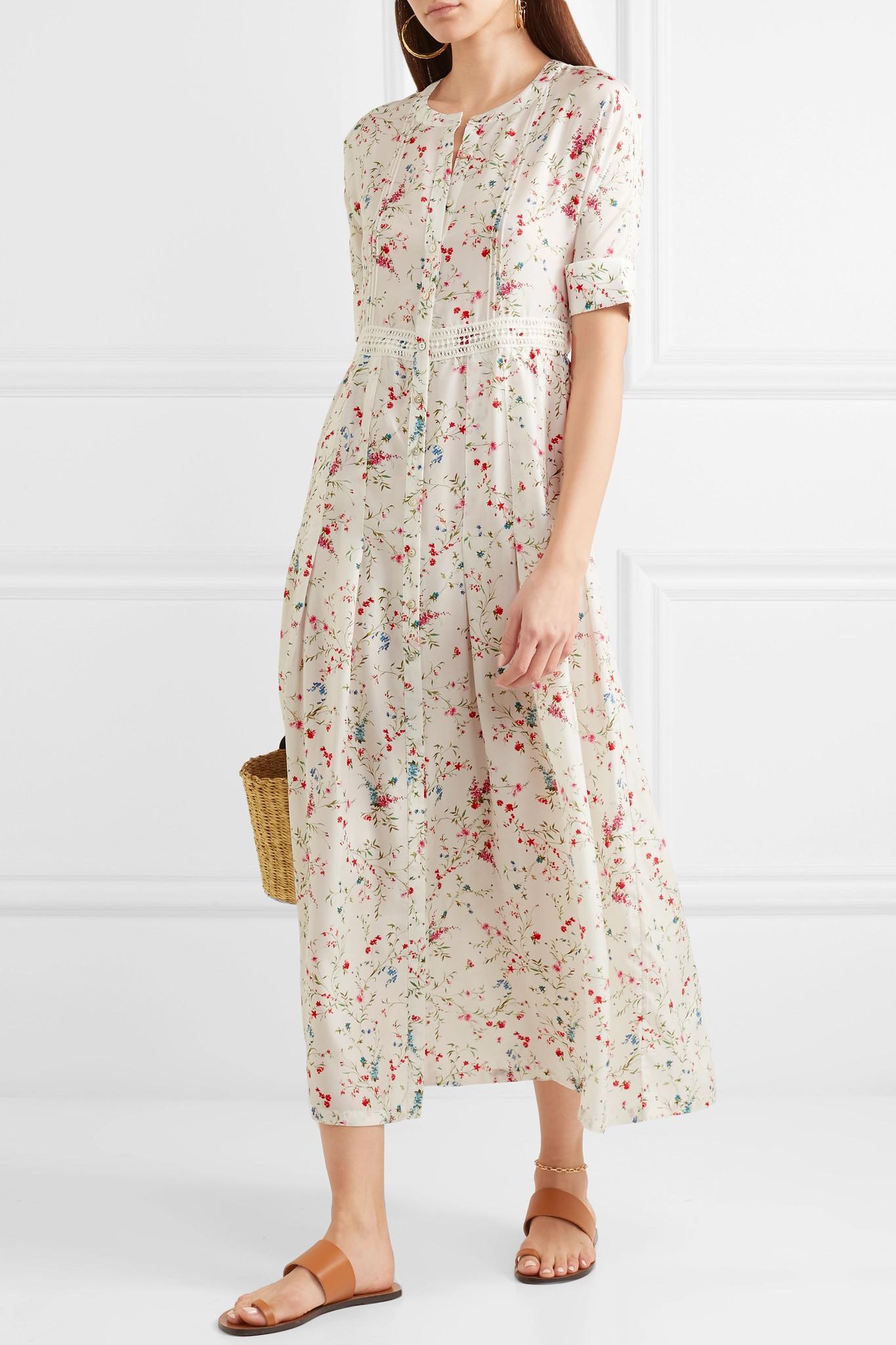 ff9a2eb2d703c Paloma Blue Luna Lace-trimmed Floral-print Silk Midi Dress in White ...