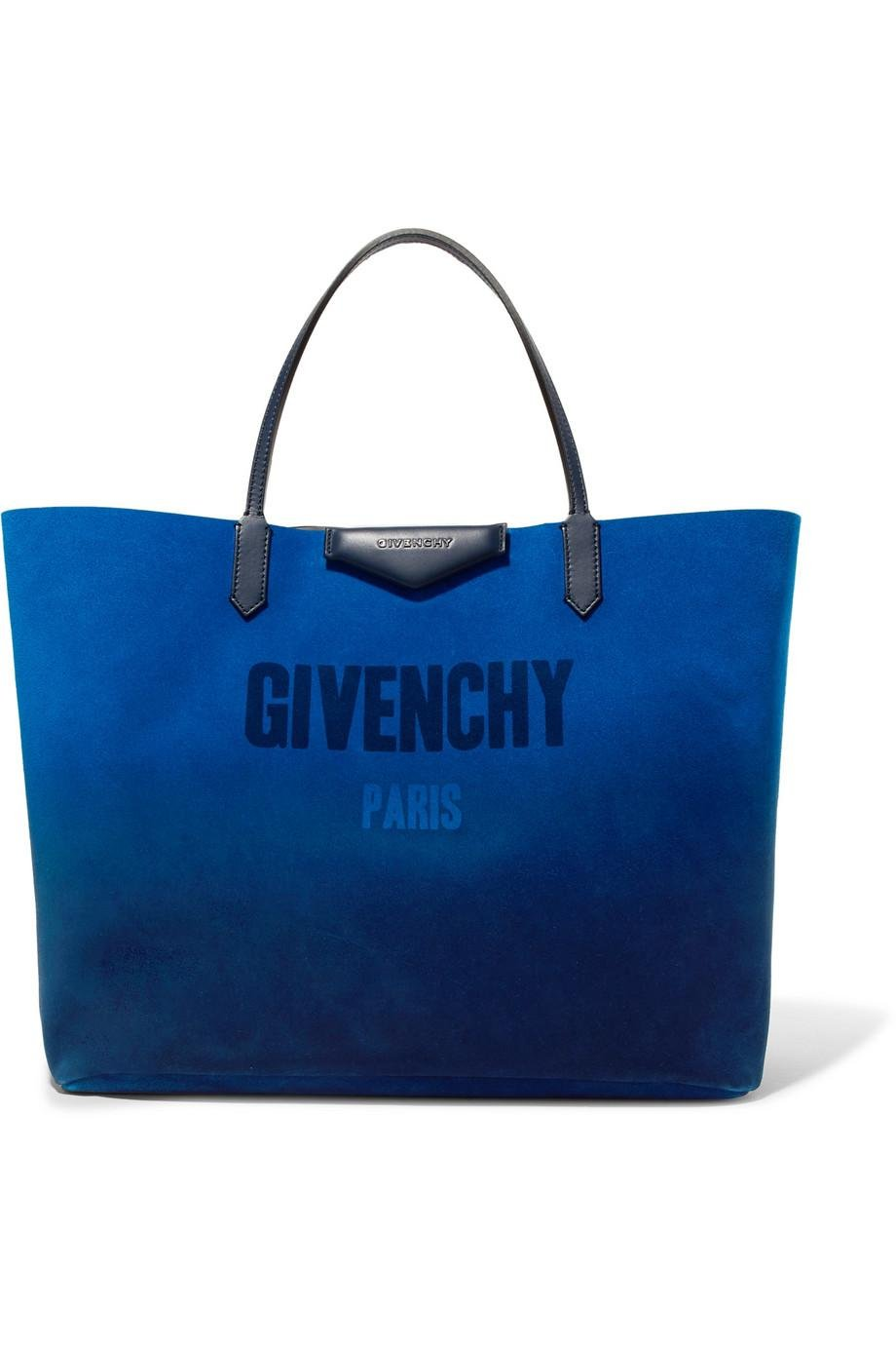 Antigona Reversible Printed Suede And Metallic Leather Tote - Blue Givenchy Myeox