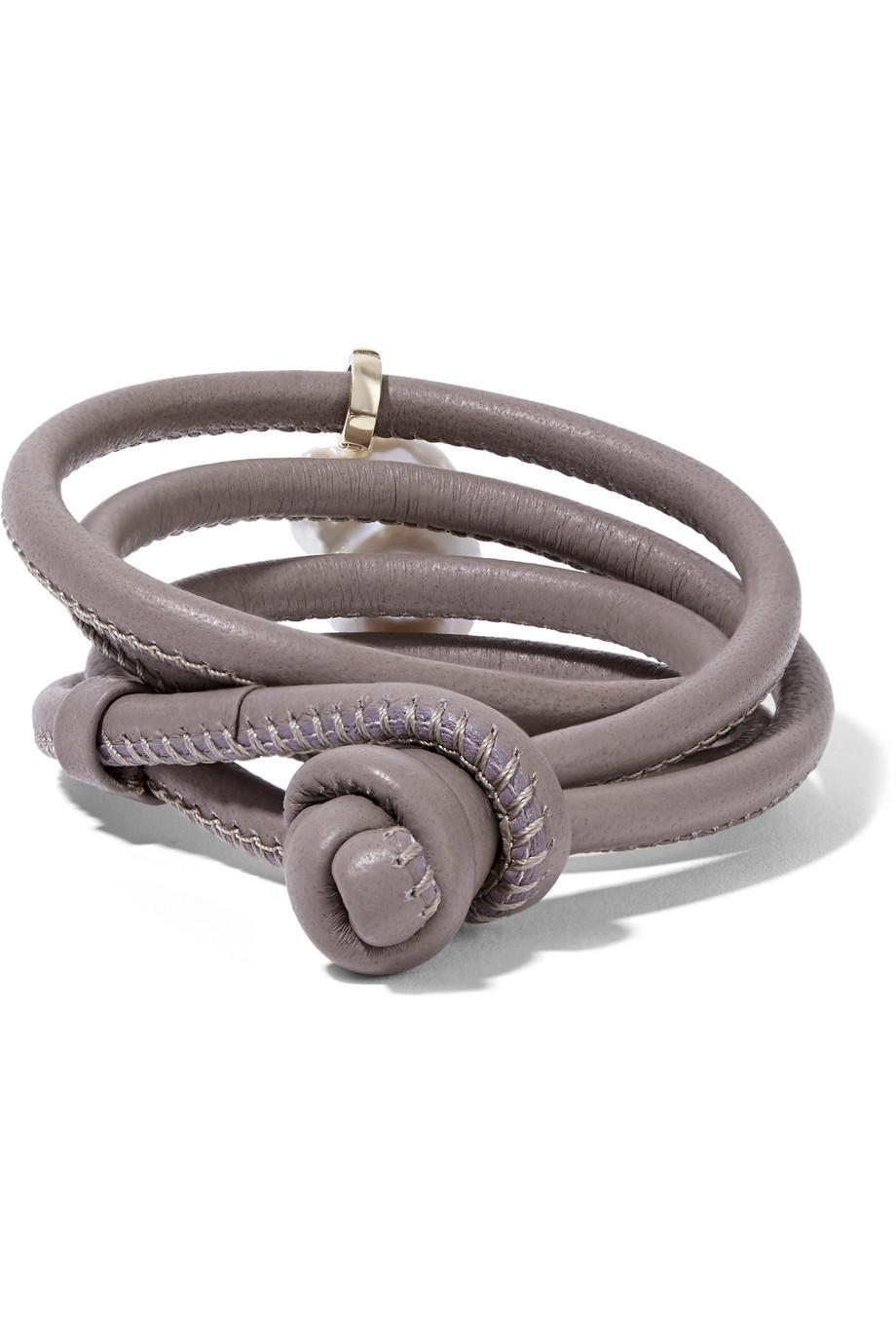 14-karat Gold, Leather And Pearl Wrap Bracelet - Gray Mizuki