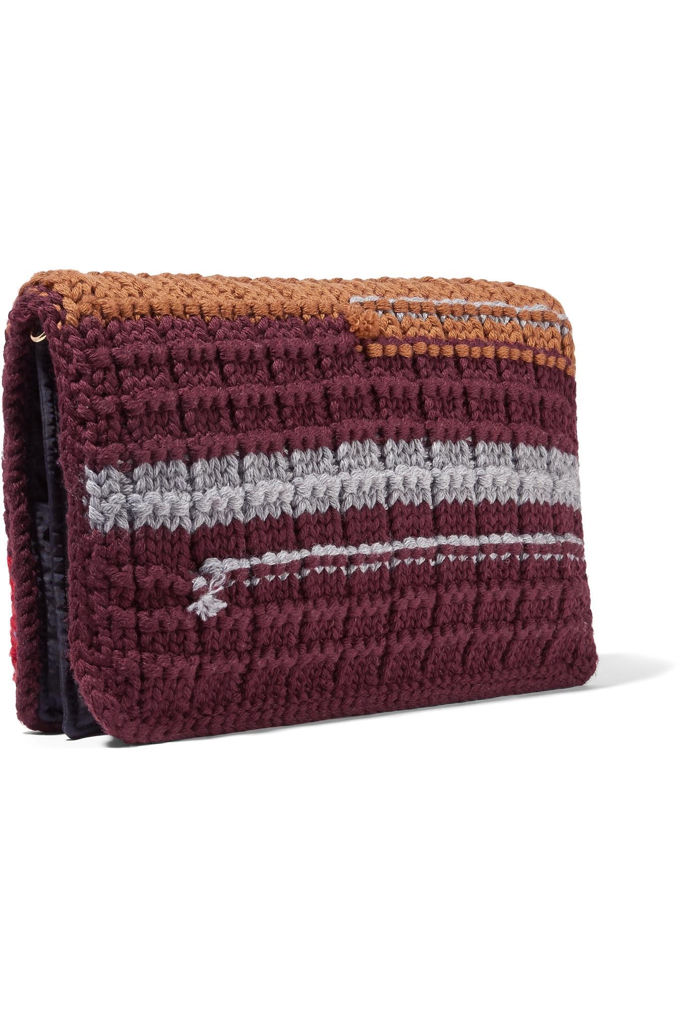 Lyst - Prada Crochet-knit Clutch in Red a6d49138ab