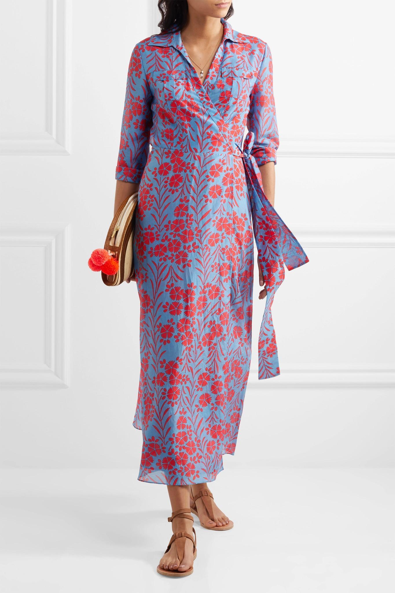 Diane Von Furstenberg Floral Print Cotton And Silk Blend