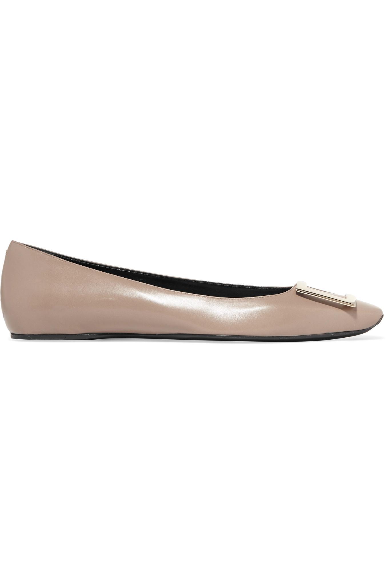02343bcbd7628 Roger Vivier Trompette Bellerine Embellished Leather Ballet Flats in ...