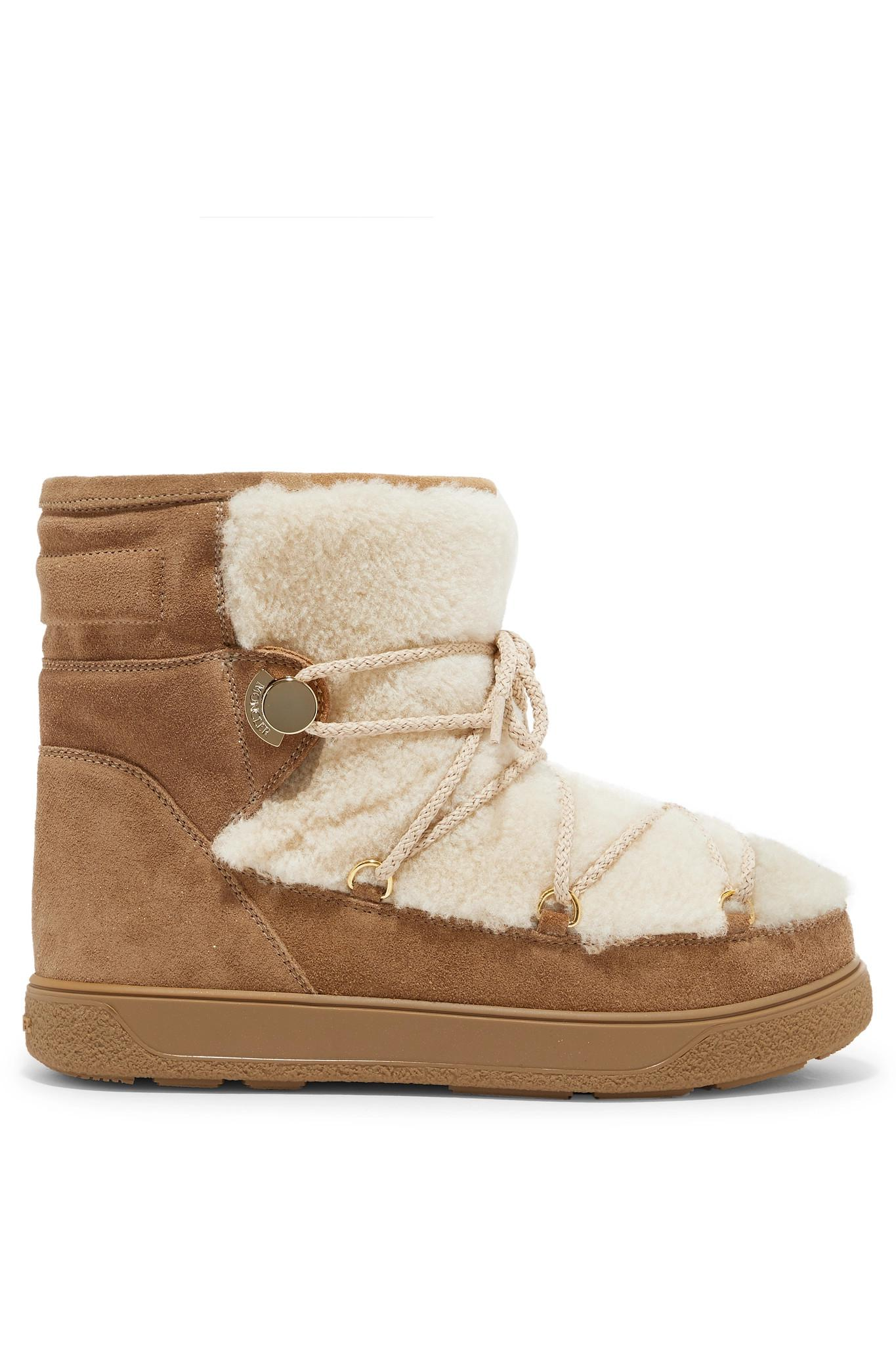 22c837499c70 Moncler New Fanny Shearling-paneled Glittered Suede Snow Boots in ...