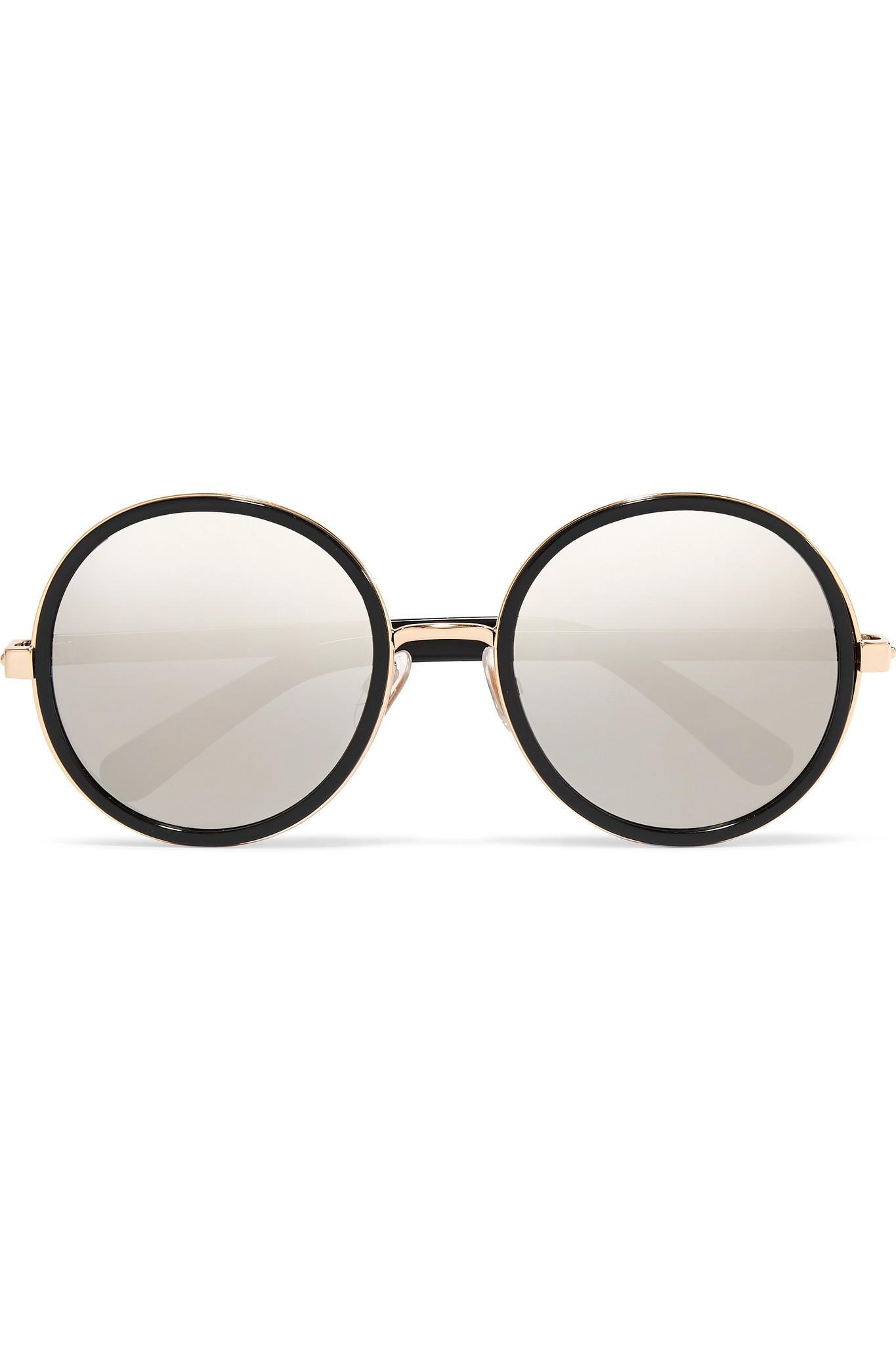 c005859ca9d Jimmy Choo. Women s Black Andie Round-frame Glittered Acetate Mirrored  Sunglasses