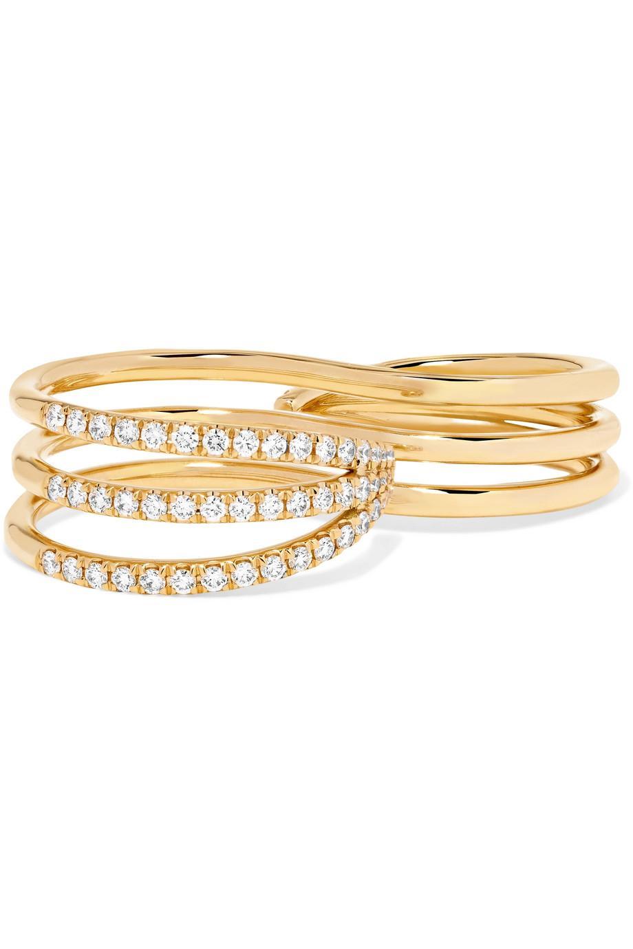 Melissa Kaye 18-karat Rose Gold, Ruby And Diamond Two-finger Ring
