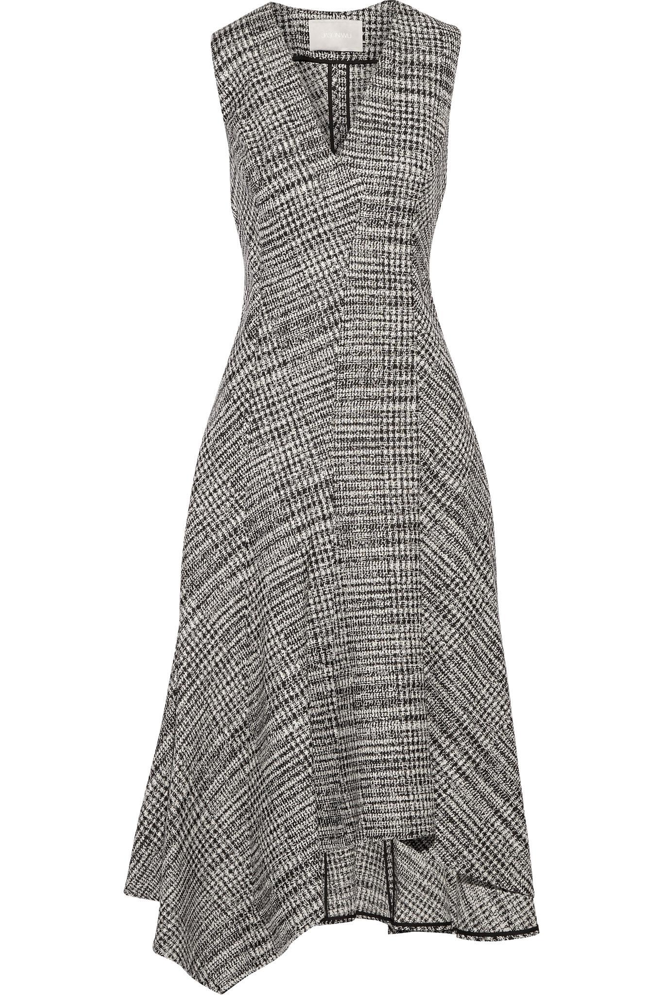 Asymmetric Prince Of Wales Checked Wool Midi Dress - Gray Jason Wu OXREIK6