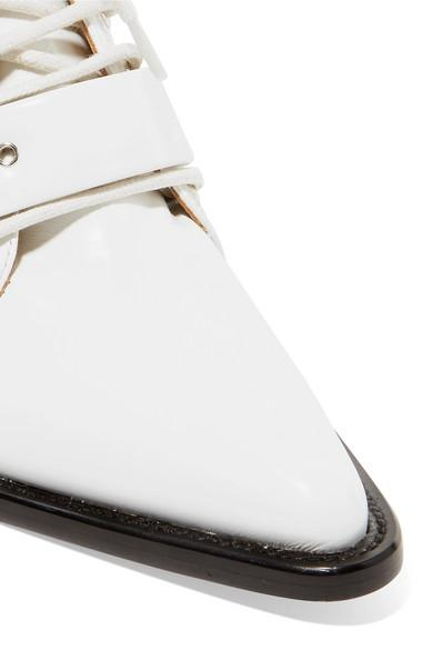 Chloé Rylee Cutout Glossed-leather Ankle Boots in White