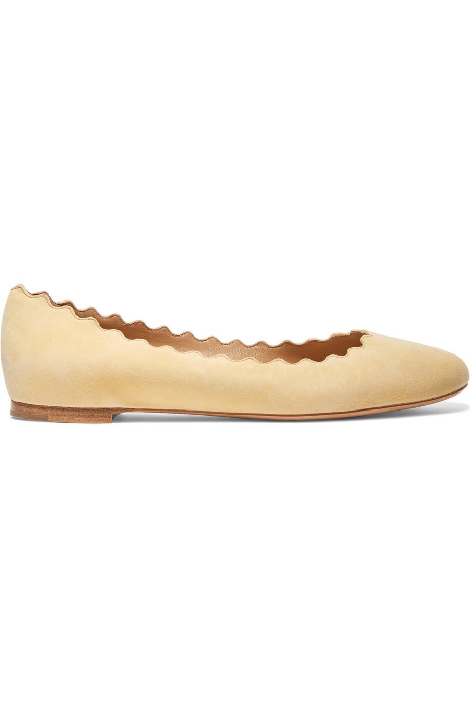5cce84af Women's Natural Lauren Scalloped Suede Ballerina Flat