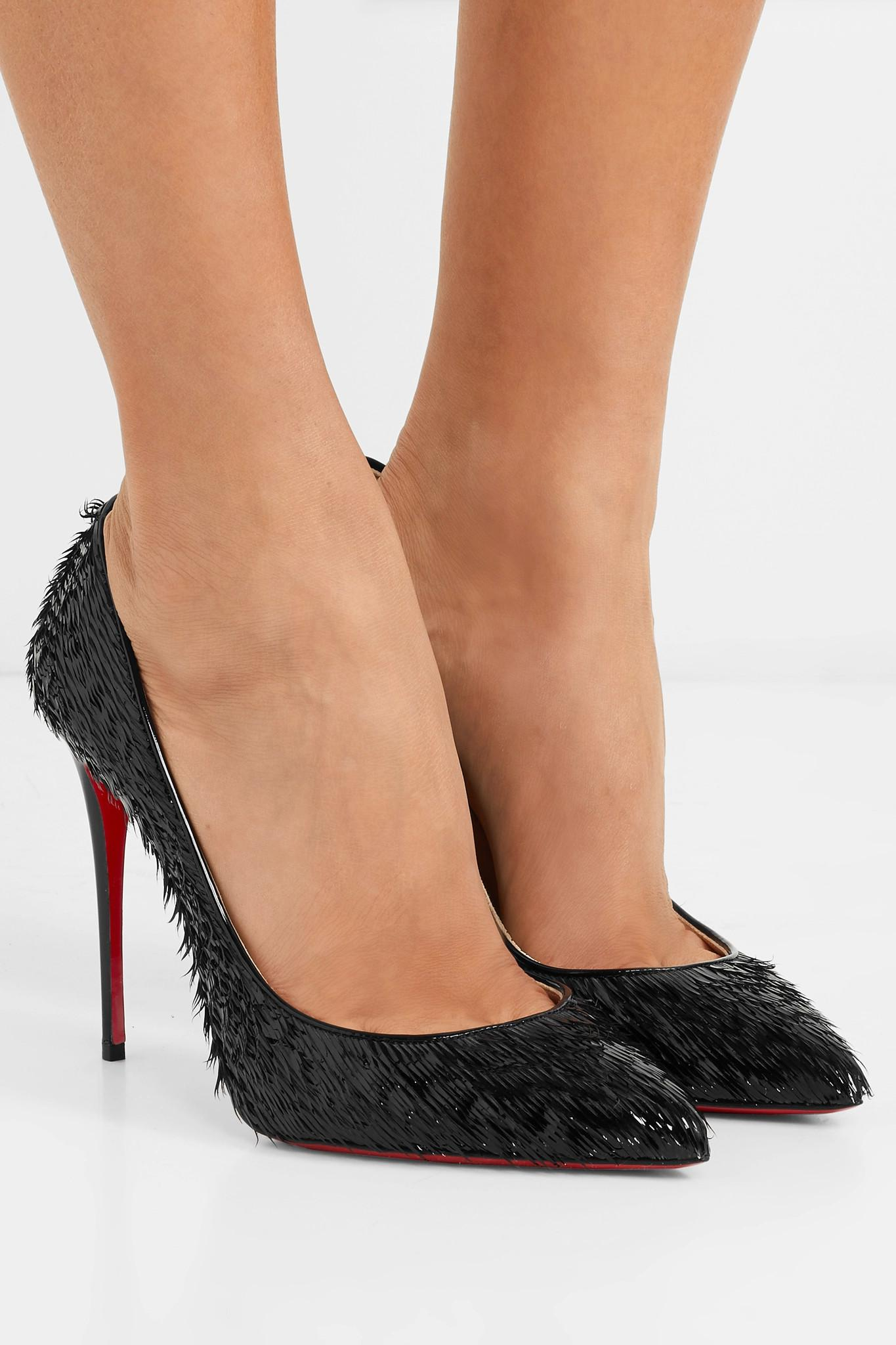 533ef15bc683 Christian Louboutin - Black Pigalle Follies 100 Fringed Patent-leather Pumps  - Lyst. View fullscreen