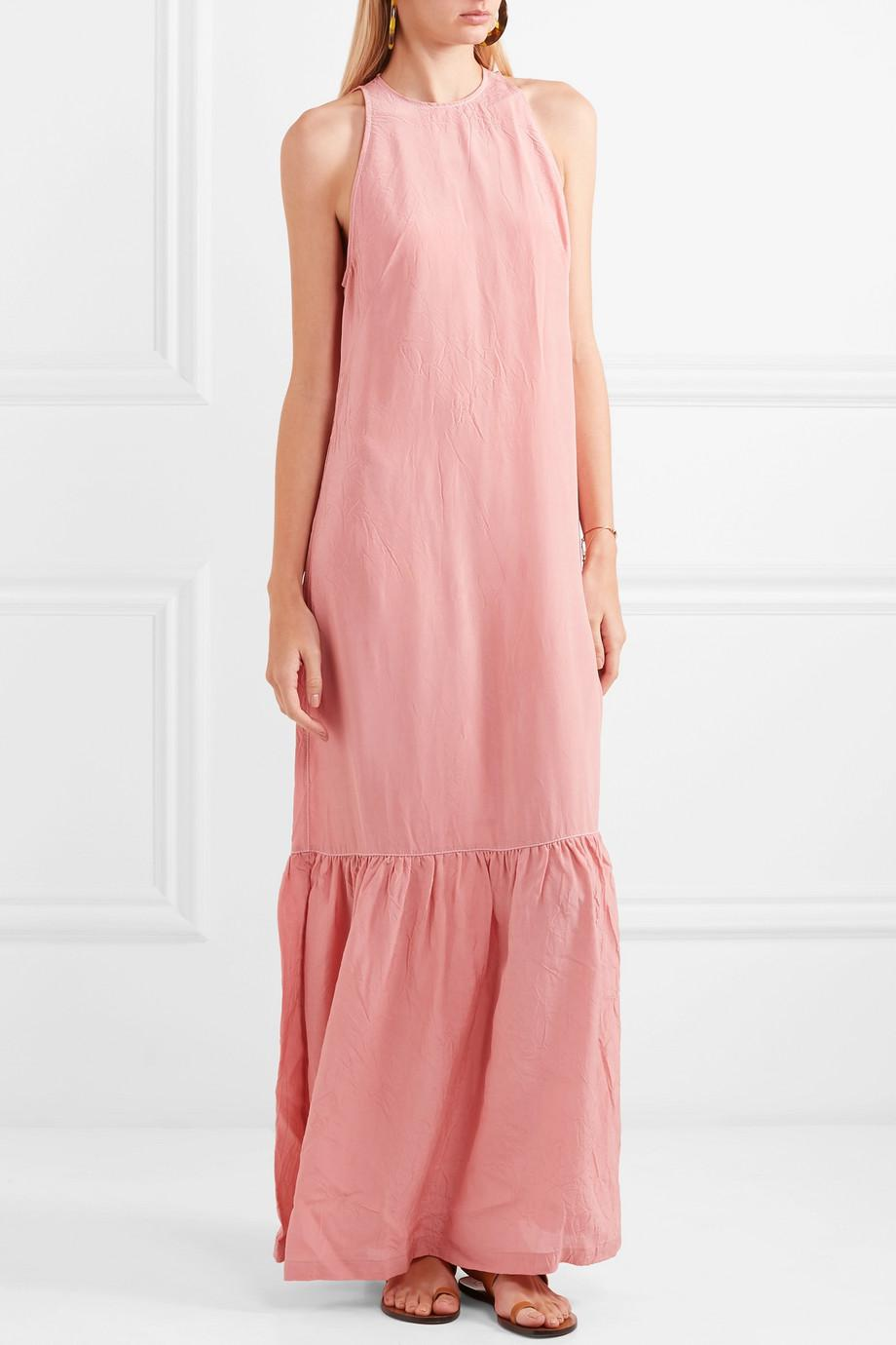 Outlet How Much Ogygia Tiered Satin Maxi Dress - Pink Marios Schwab Outlet Websites Cheap Sale Outlet Store Discount Original 6bk1zP