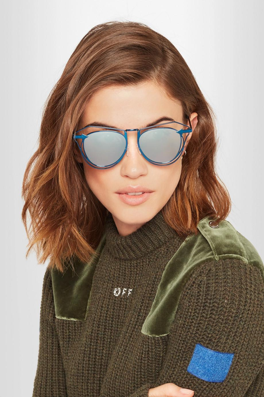 Marguerite Aviator-style Metal Mirrored Sunglasses - Blue Karen Walker