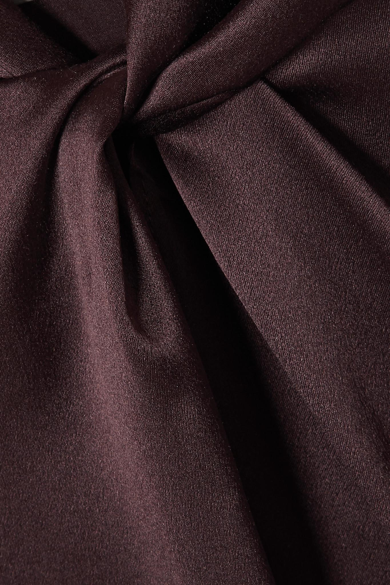 8b4e8c459af724 Vince - Brown Knotted Silk-satin Blouse - Lyst. View fullscreen
