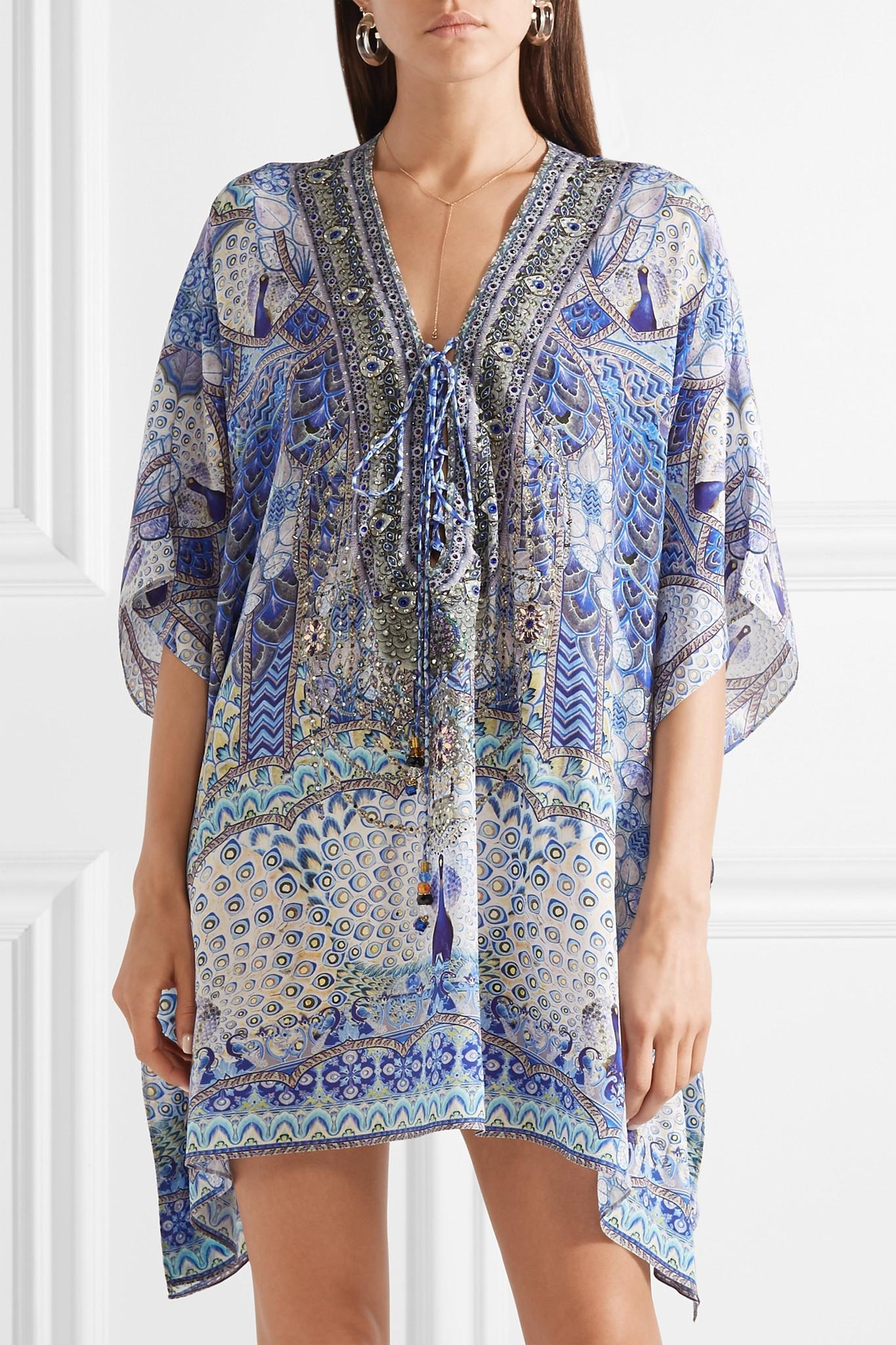 Low Cost Sale Online Lovers Retreat Embellished Silk Crepe De Chine Kaftan - Blue Camilla New Release Amazing Price 100% Original For Sale OYLuO6bLQ8