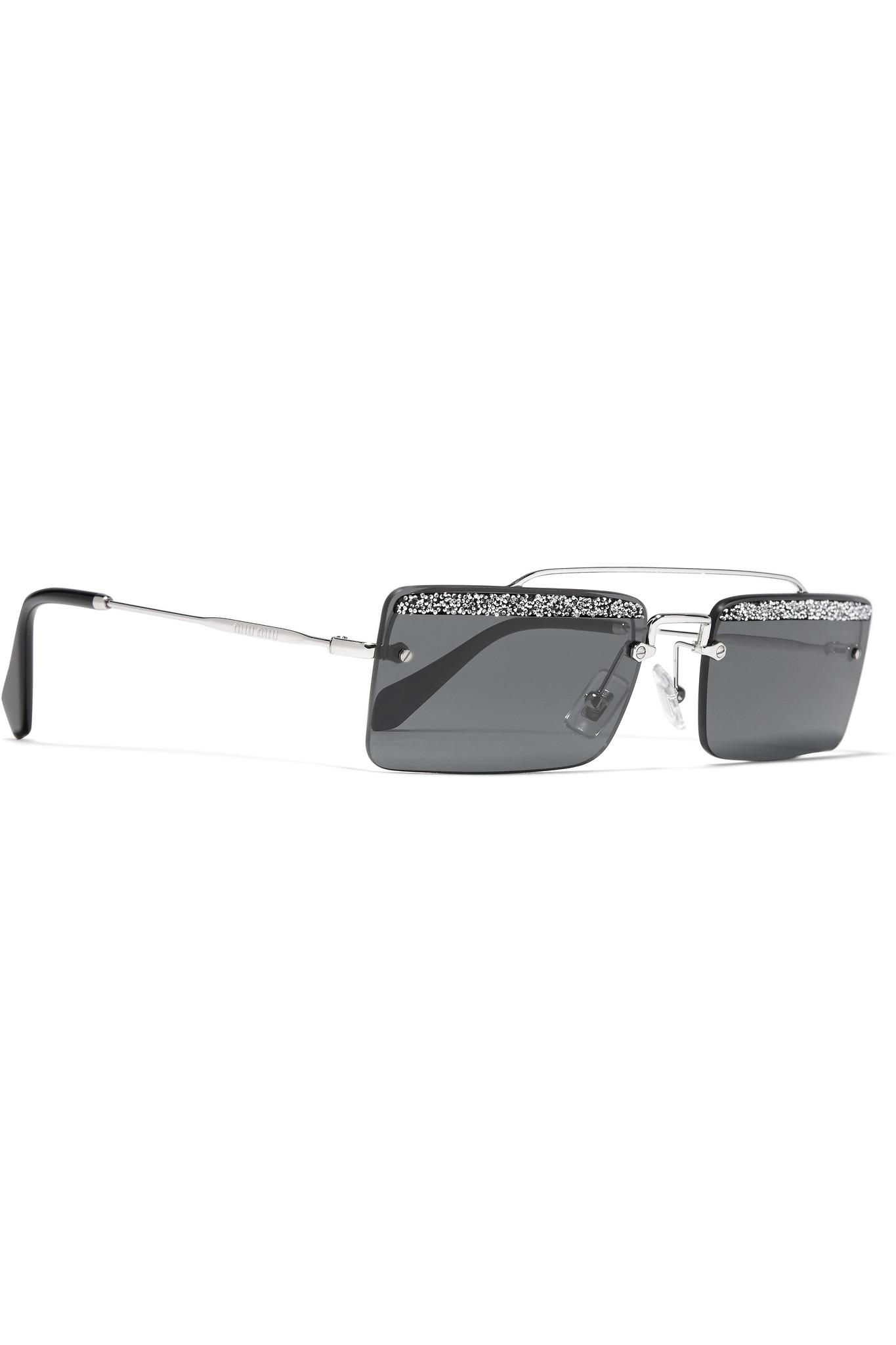 14eadcac9a1a Miu Miu - Gray Crystal-embellished Square-frame Silver-tone And Acetate  Sunglasses. View fullscreen
