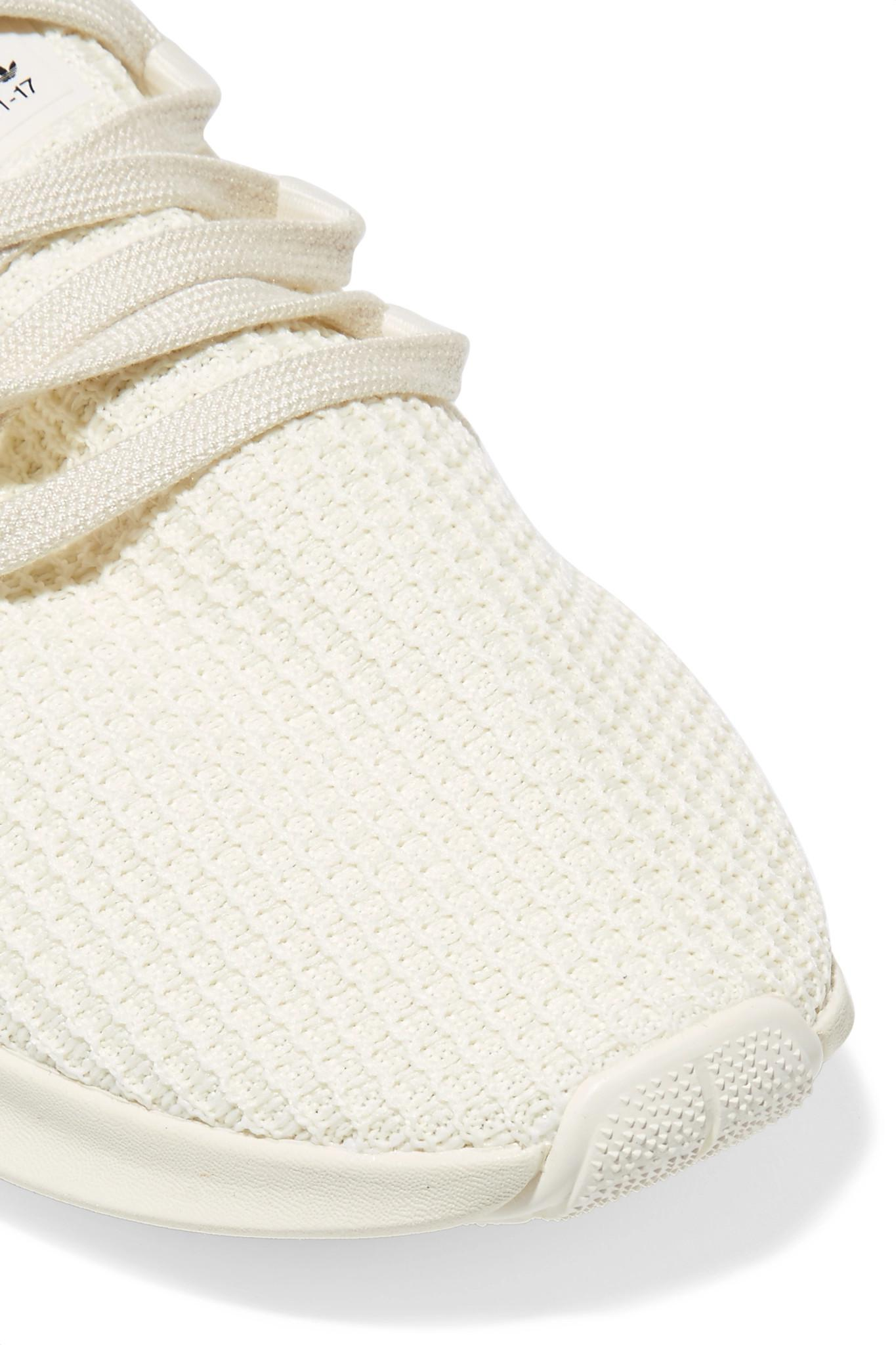 e575166f86a9e1 Adidas Originals - White Eqt Racing Adv Faux Suede-trimmed Stretch-knit And  Neoprene. View fullscreen