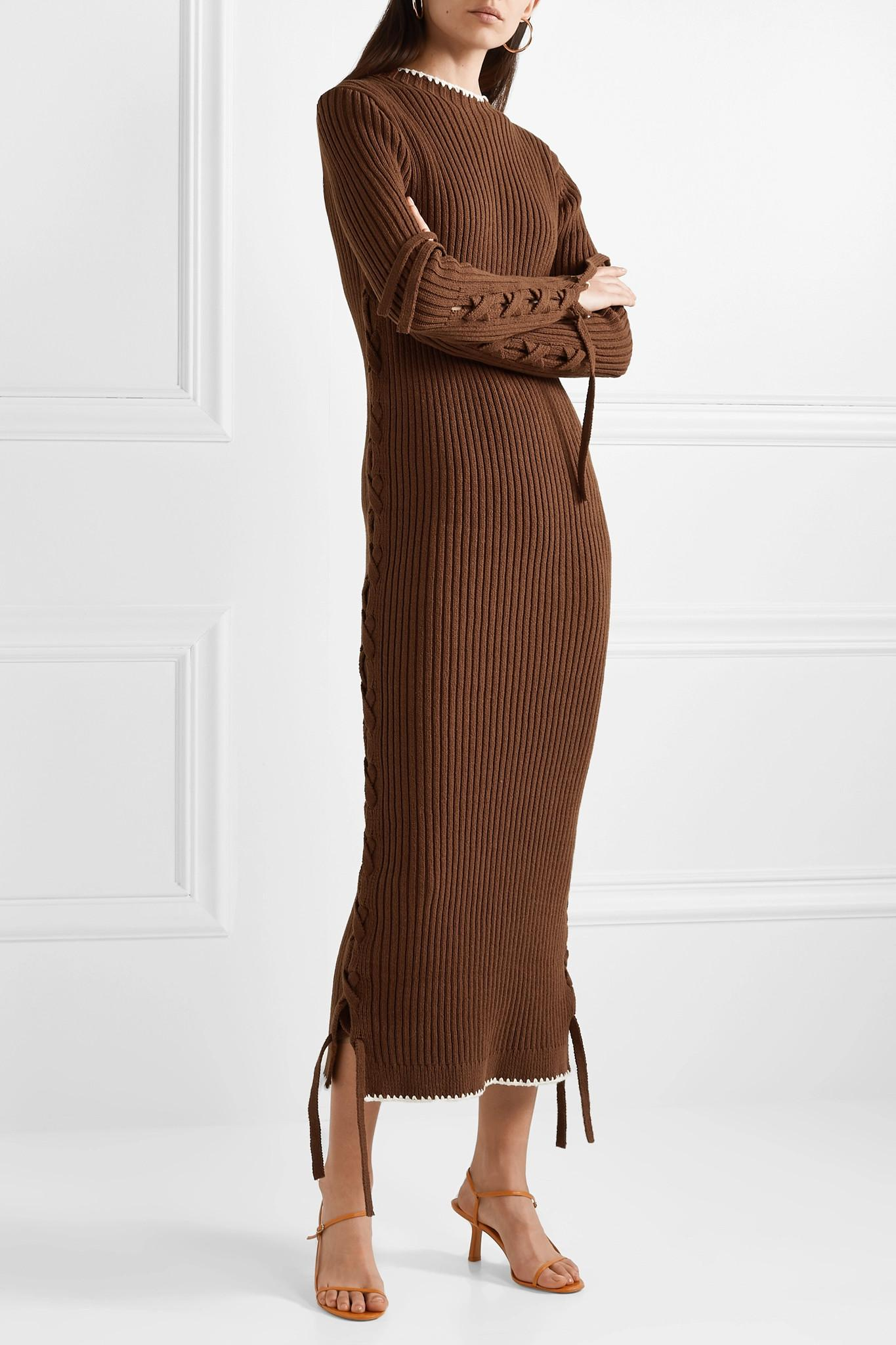 By Malene Birger Lace up Ribbed Cotton Dress in Brown   Lyst