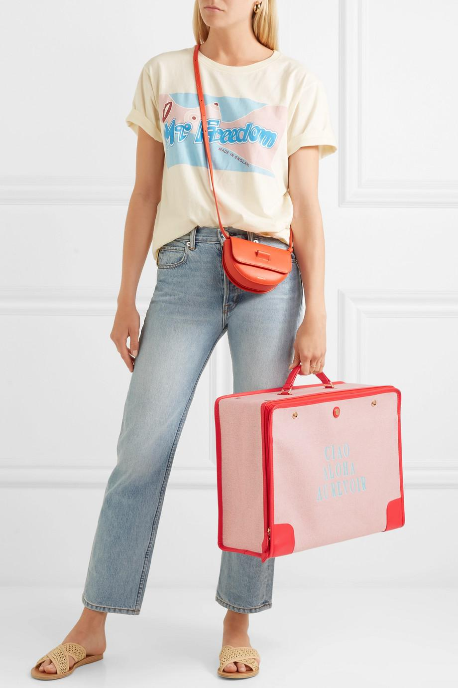 Stowaway Leather-trimmed Printed Canvas Suitcase - Red Paravel msXZtlgKgL