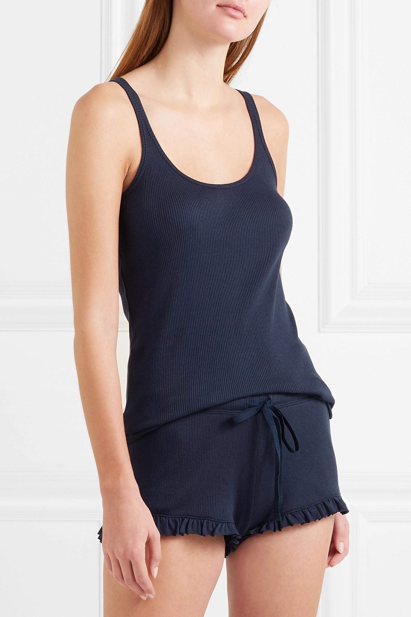 44759b861 Skin - Blue Essentials Ribbed Pima Cotton-jersey Pajama Set - Lyst. View  fullscreen