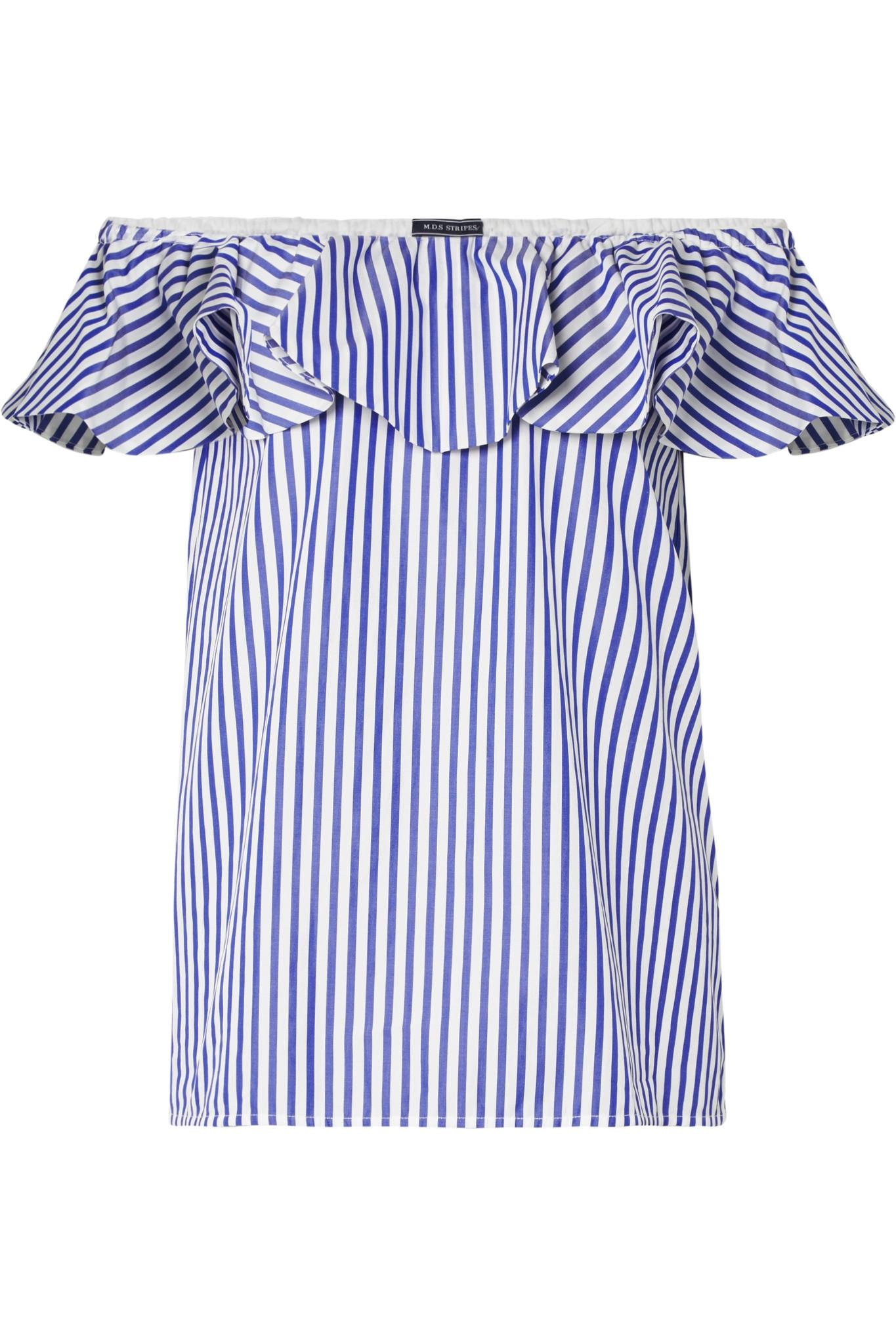 7f79b64b2d919 Mds Stripes Off-the-shoulder Ruffled Striped Cotton-poplin Top in ...