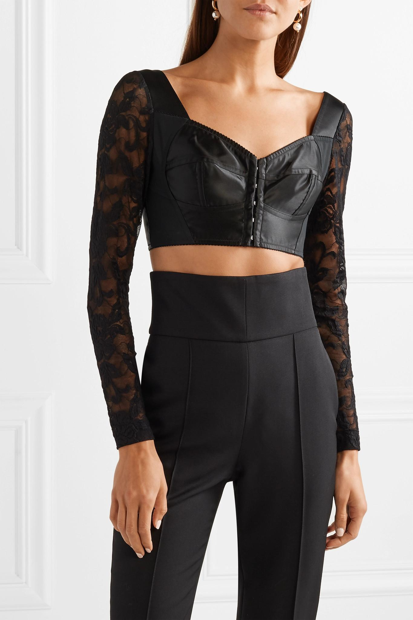 a8de0c57736673 Dolce   Gabbana - Black Cropped Satin
