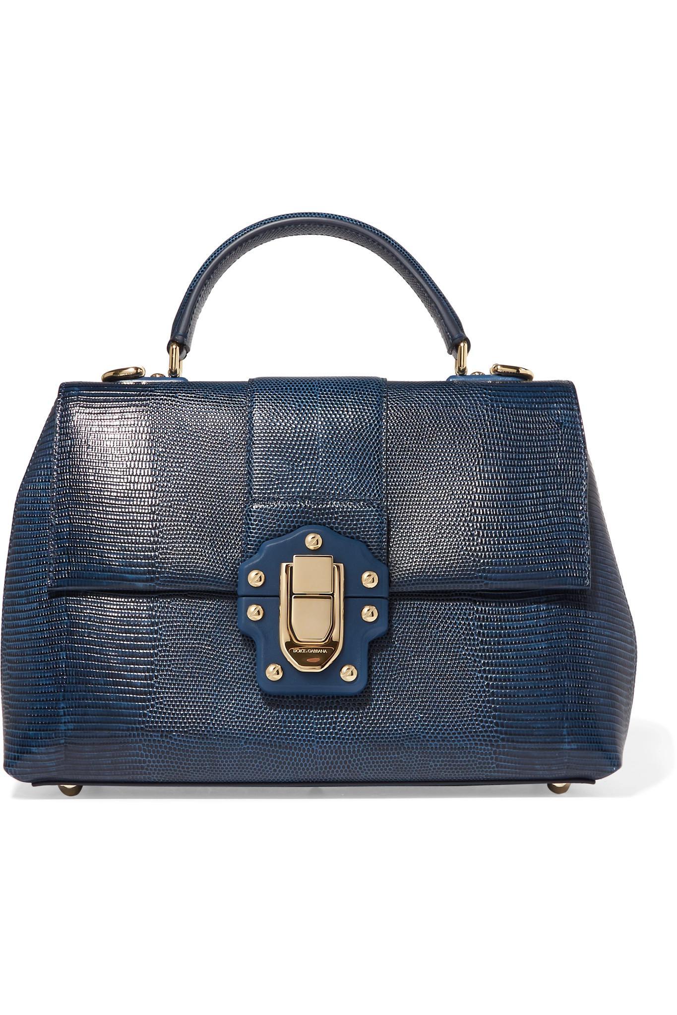 7705f8bab038 Lyst - Dolce   Gabbana Lucia Lizard-effect Leather Tote in Blue