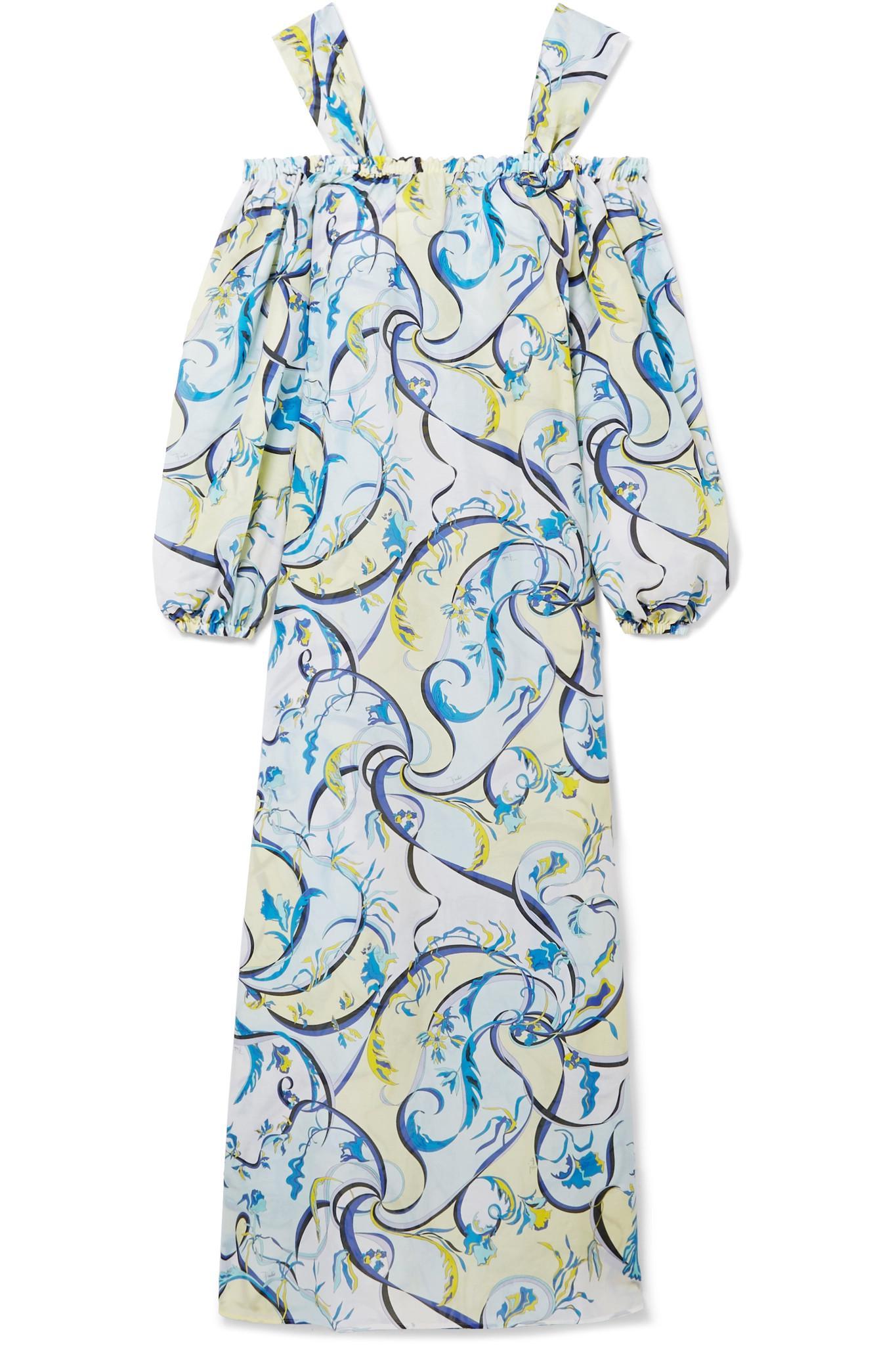 cold-shoulder printed maxi dress - Blue Emilio Pucci Supply lFtwXRq2l