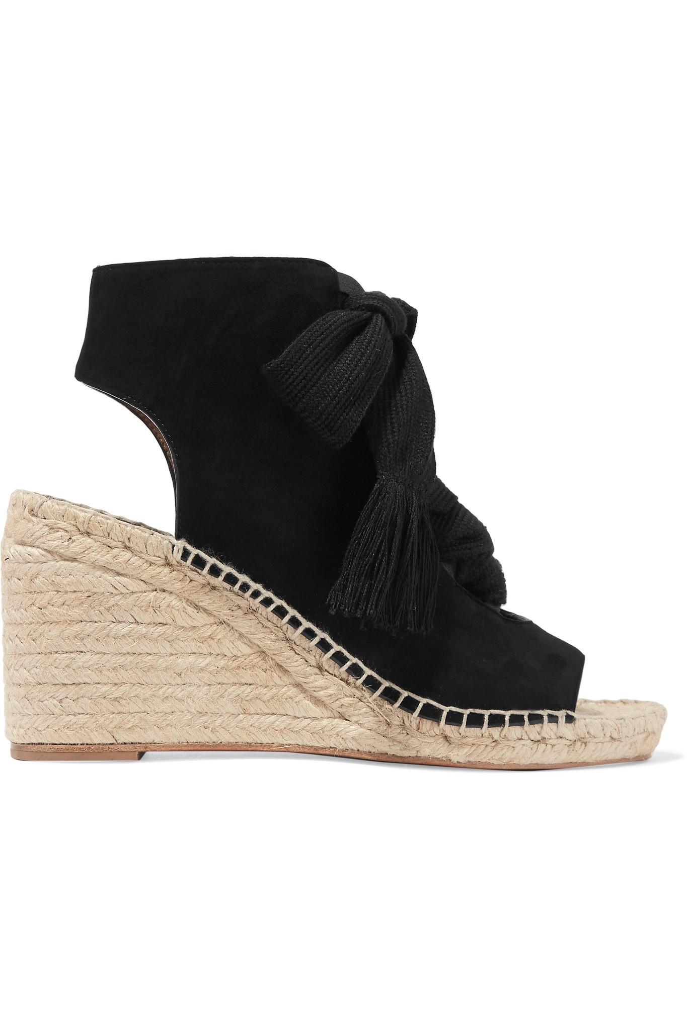 aa7b9d775c Chloé Black Harper Lace-up Suede Espadrille Wedge Sandals