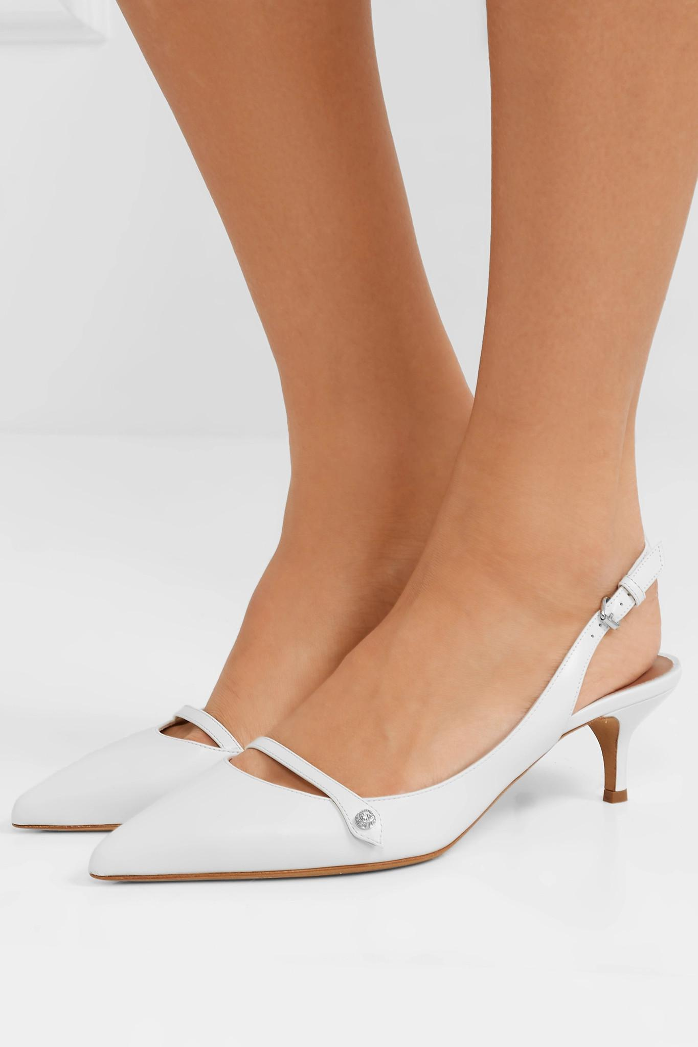 36fa7d2b719 Tabitha Simmons - White Layton Crystal-embellished Leather Slingback Pumps  - Lyst. View fullscreen