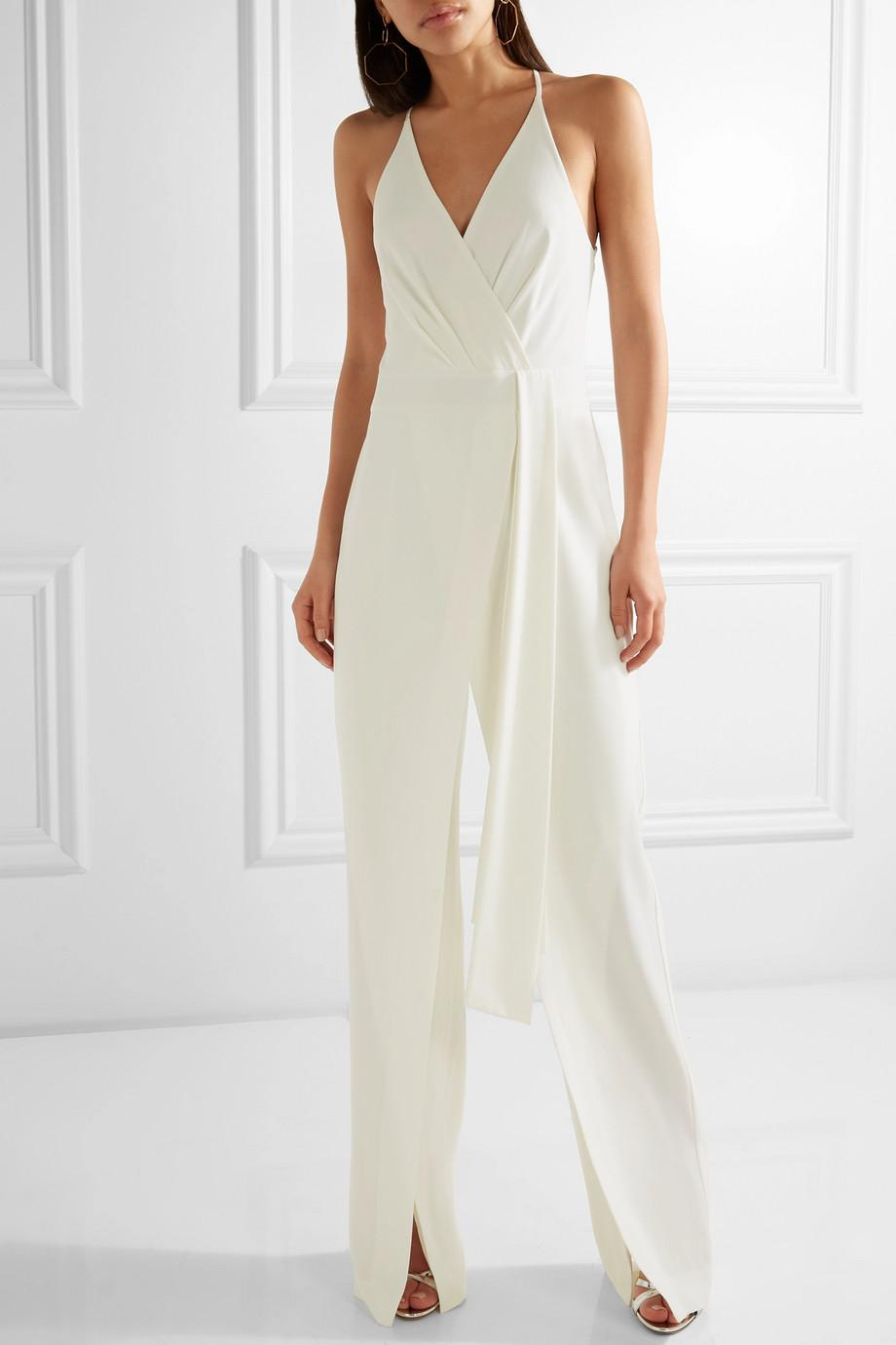 60d221fc876 Lyst - Halston Draped Georgette-trimmed Crepe Jumpsuit in White