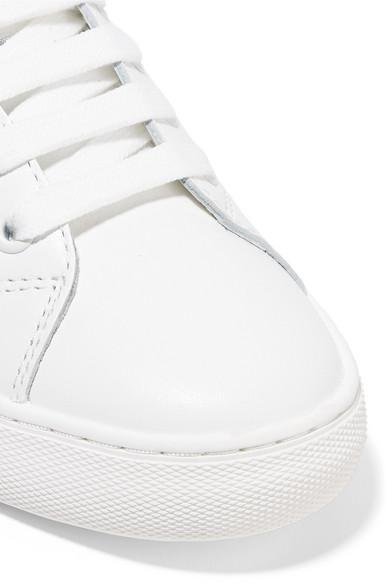 Marc Jacobs Empire Appliquéd Leather And Grosgrain Sneakers in White