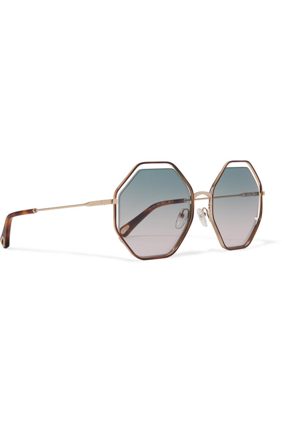 3b59edf53d10 Lyst - Chloé Poppy Octagon-frame Acetate And Gold-tone Sunglasses in ...